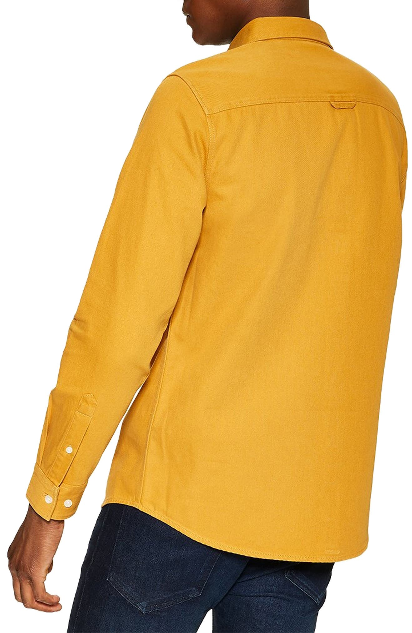 Slim Fit Twill Shirt,                             Alternate thumbnail 3, color,                             YELLOW