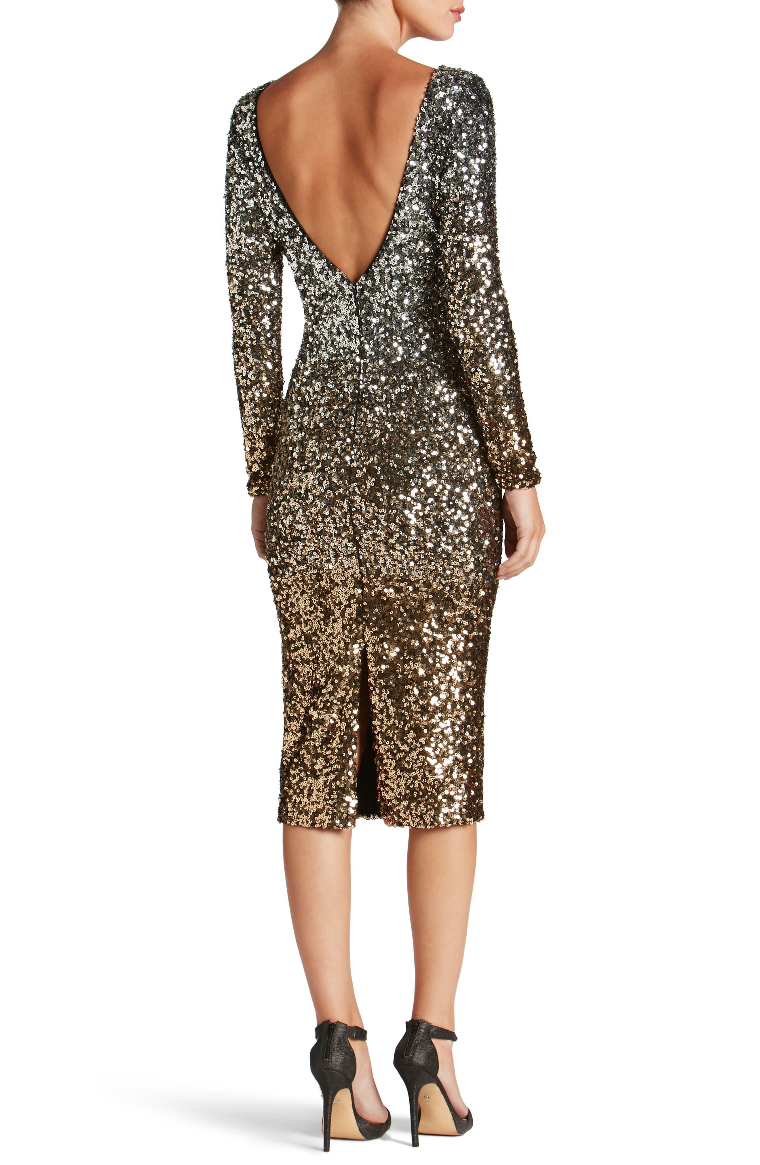 Emery Ombré Sequin Body-Con Dress,                             Alternate thumbnail 2, color,                             045
