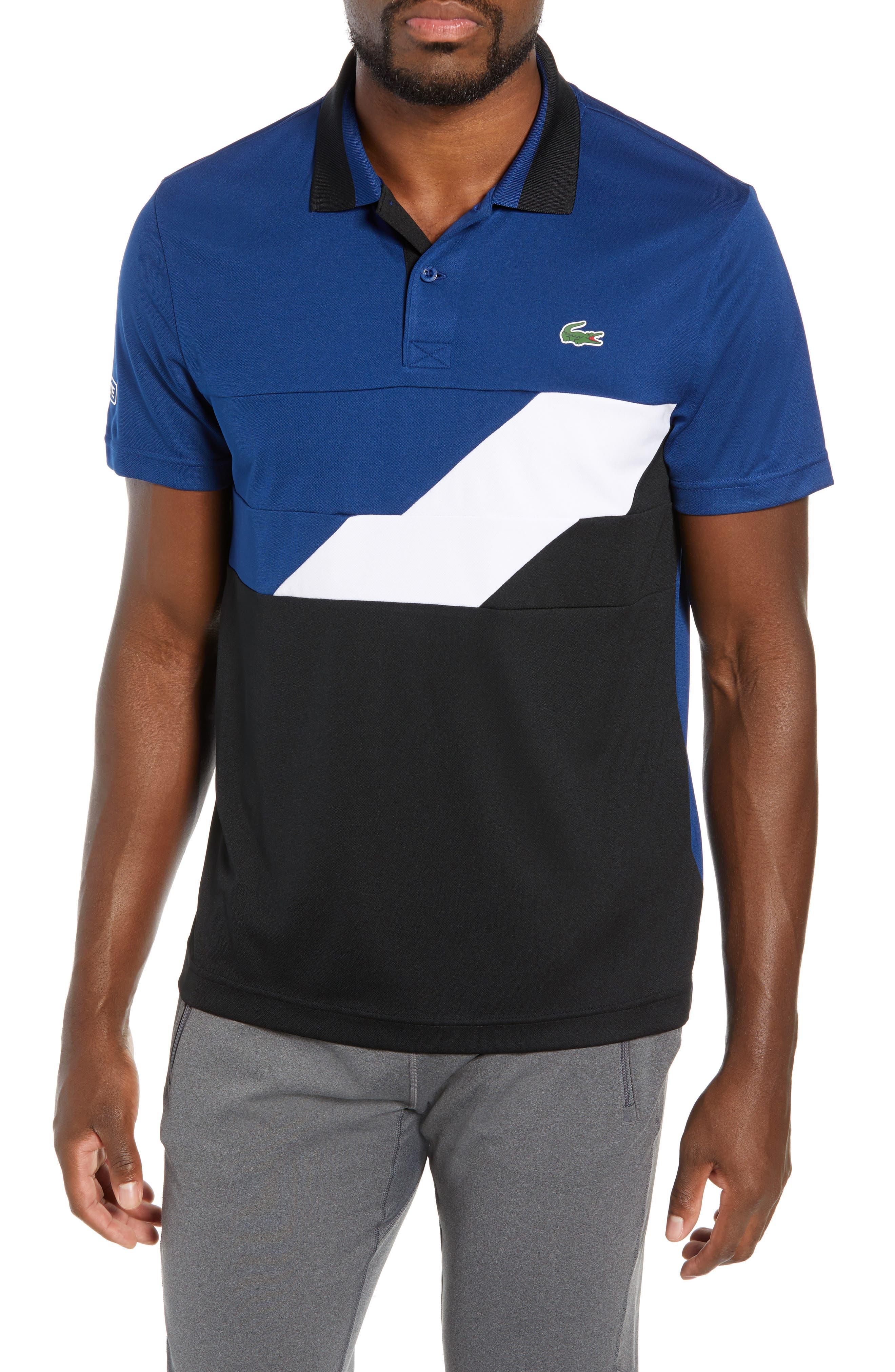 Sport Regular Fit Colorblock Tech Piqué Polo,                             Main thumbnail 1, color,                             FZ3 INKWELL/ BLACK-WHITE