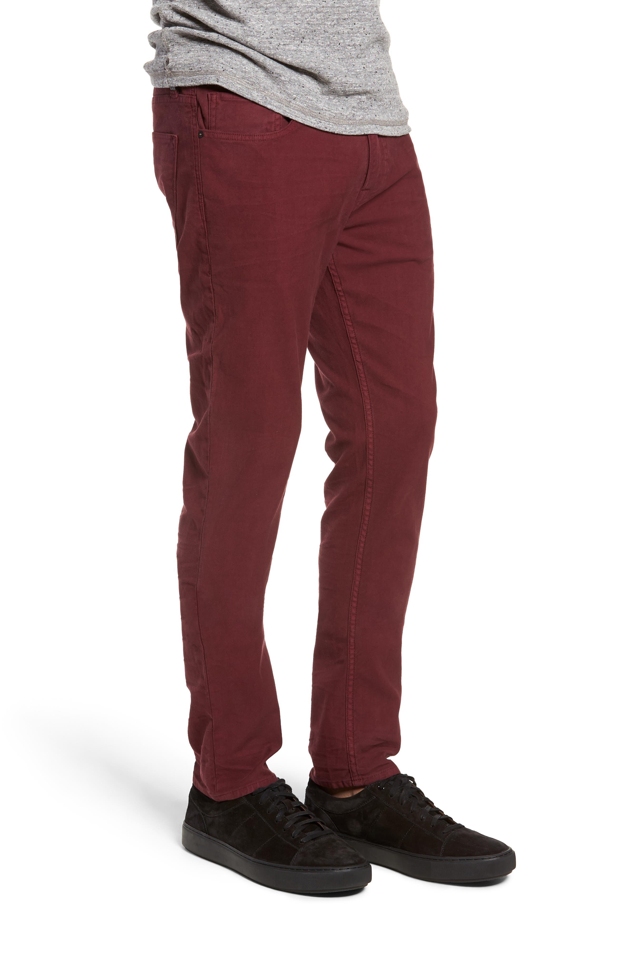 Axl Skinny Fit Twill Jeans,                             Alternate thumbnail 3, color,                             OXBLOOD