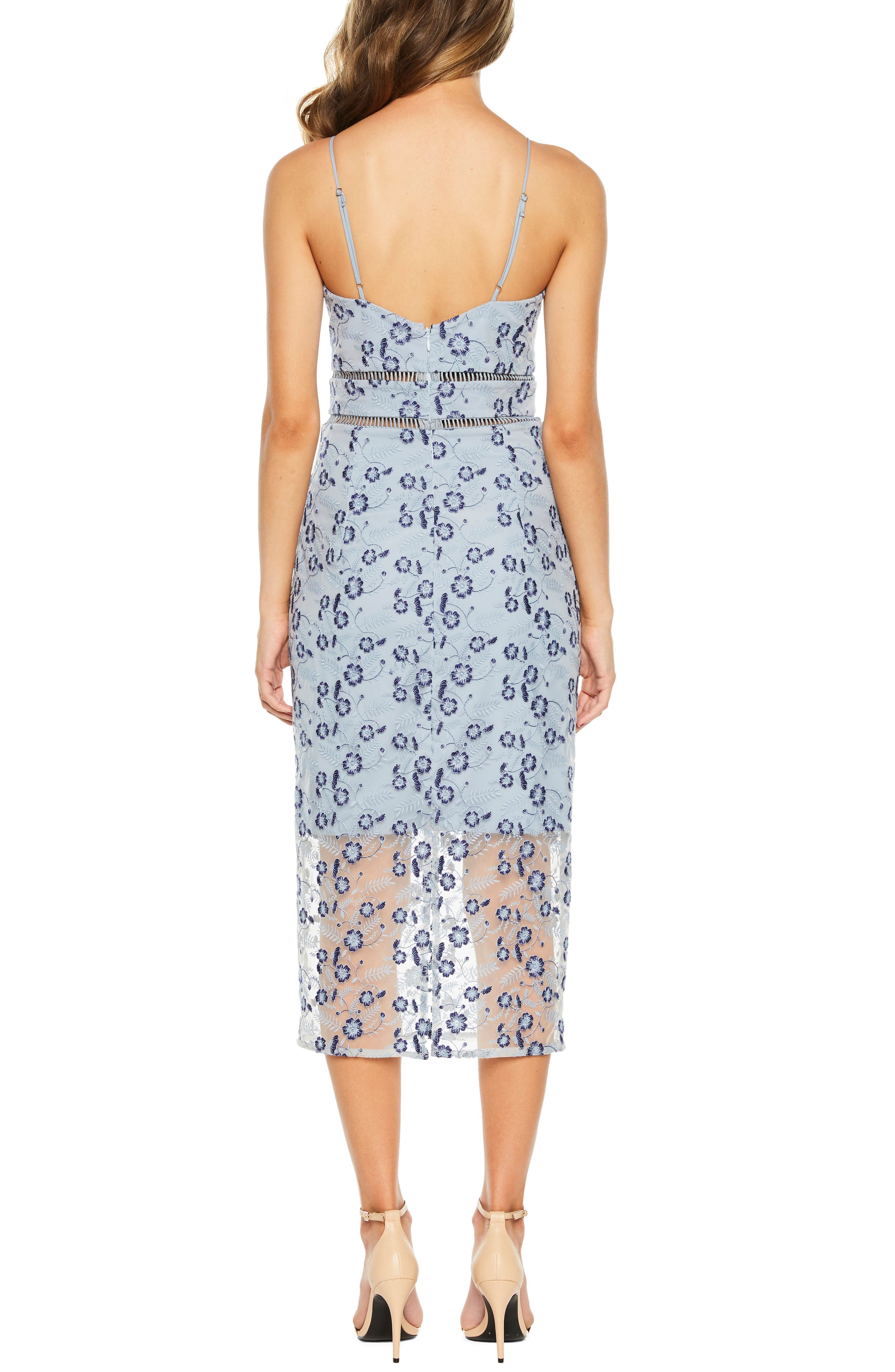 Sapphire Lace Midi Dress,                             Alternate thumbnail 2, color,                             DUSTY BLUE