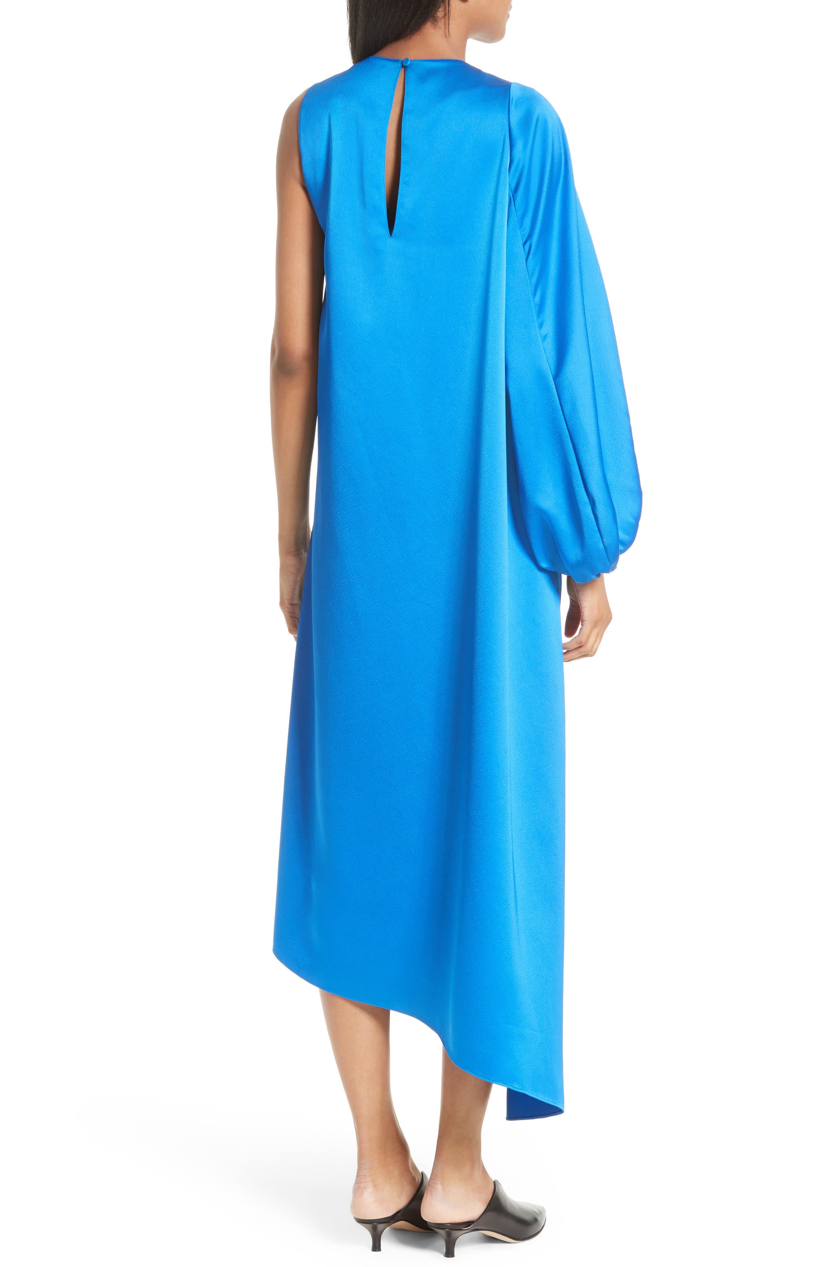 Celestia One Sleeve Bias Cut Satin Dress,                             Alternate thumbnail 2, color,                             408
