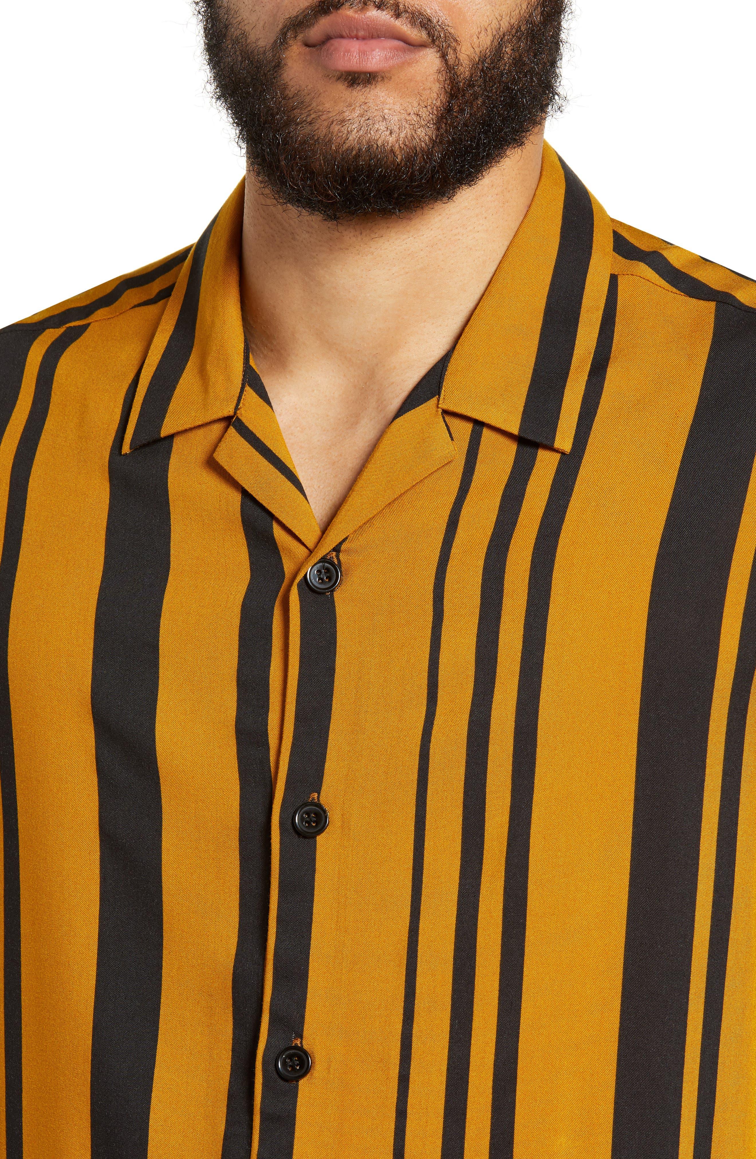 Stripe Classic Fit Shirt,                             Alternate thumbnail 2, color,                             YELLOW MULTI