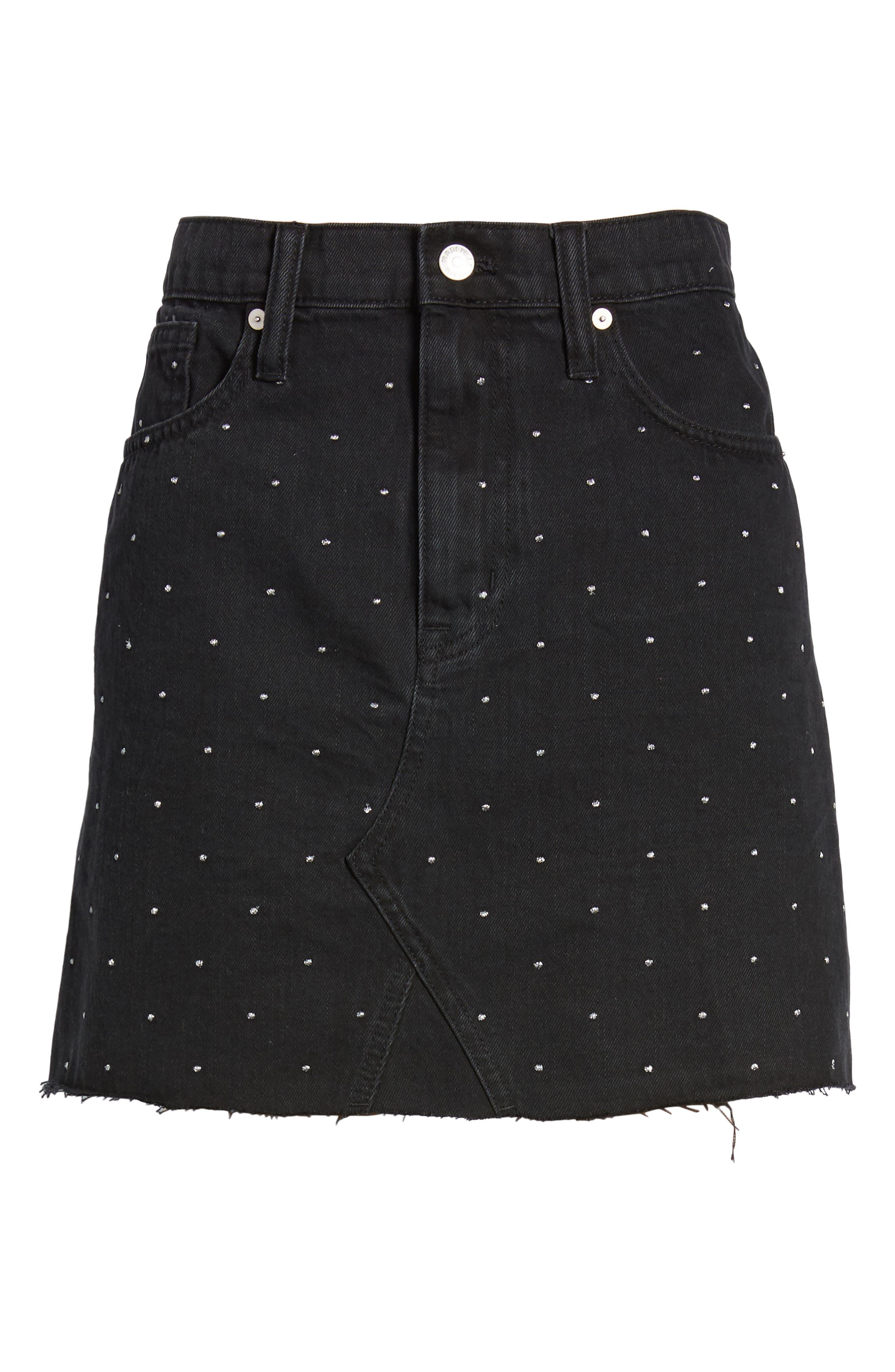 Metallic Dots Denim Miniskirt,                             Alternate thumbnail 5, color,                             LUNAR WASH