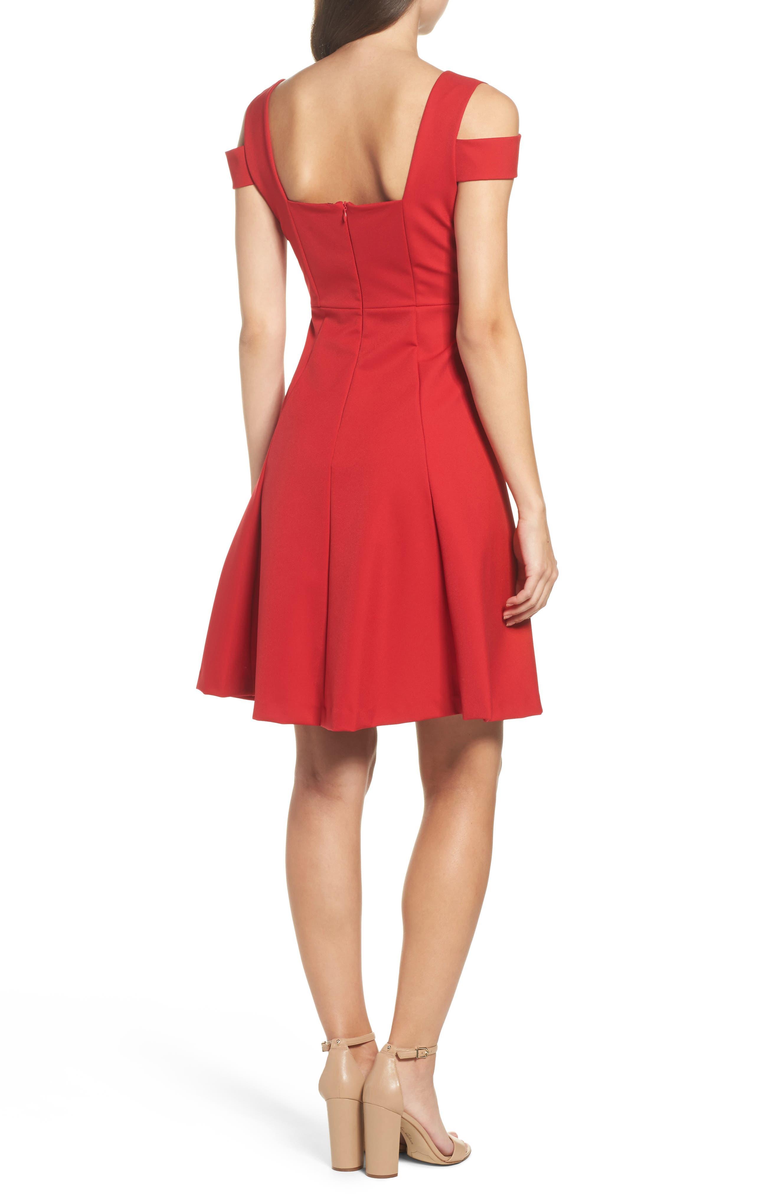 Pearl Cold Shoulder Fit & Flare Dress,                             Alternate thumbnail 2, color,                             600