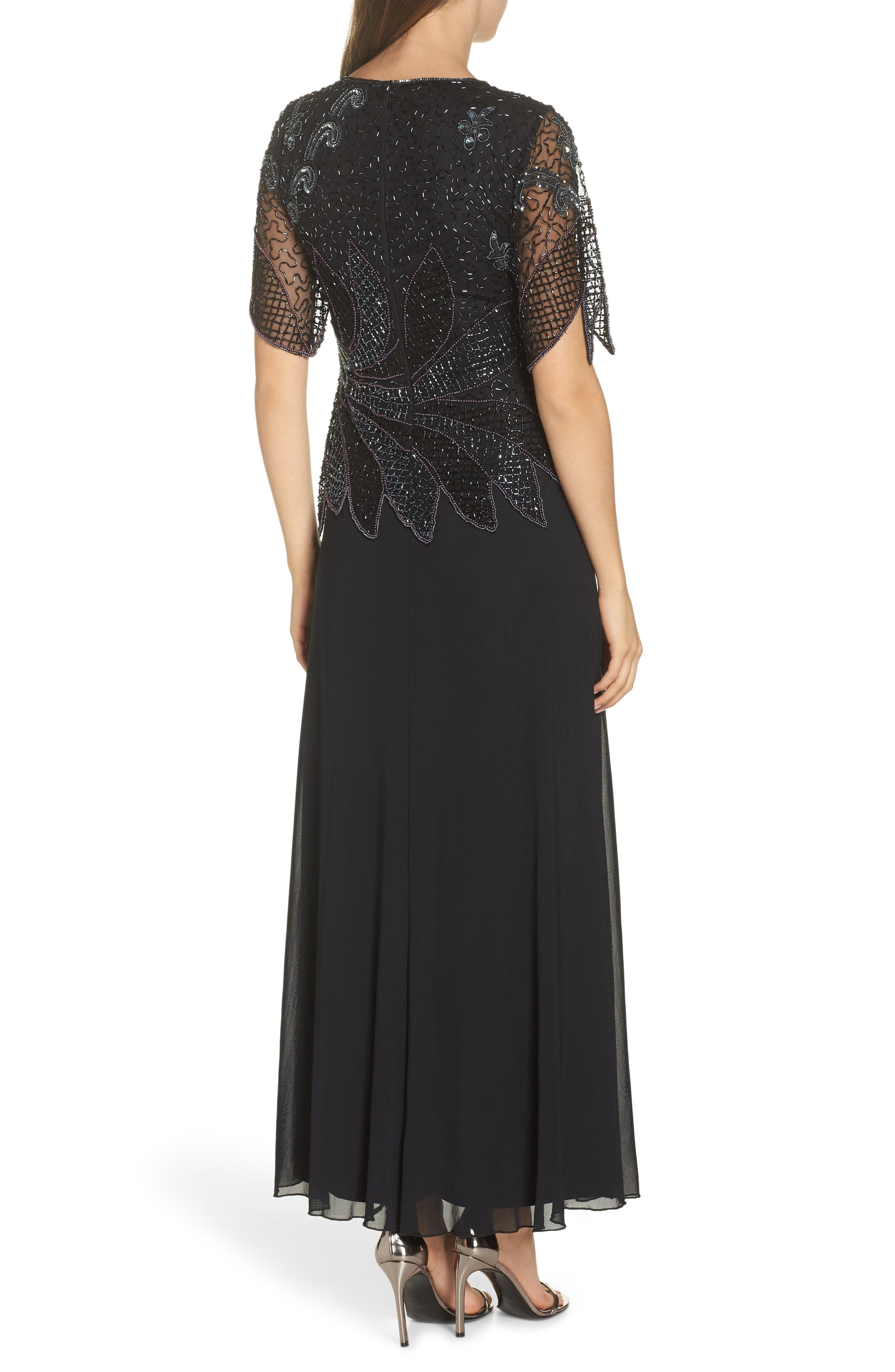 Beaded Mock Two-Piece Gown,                             Alternate thumbnail 2, color,                             BLACK