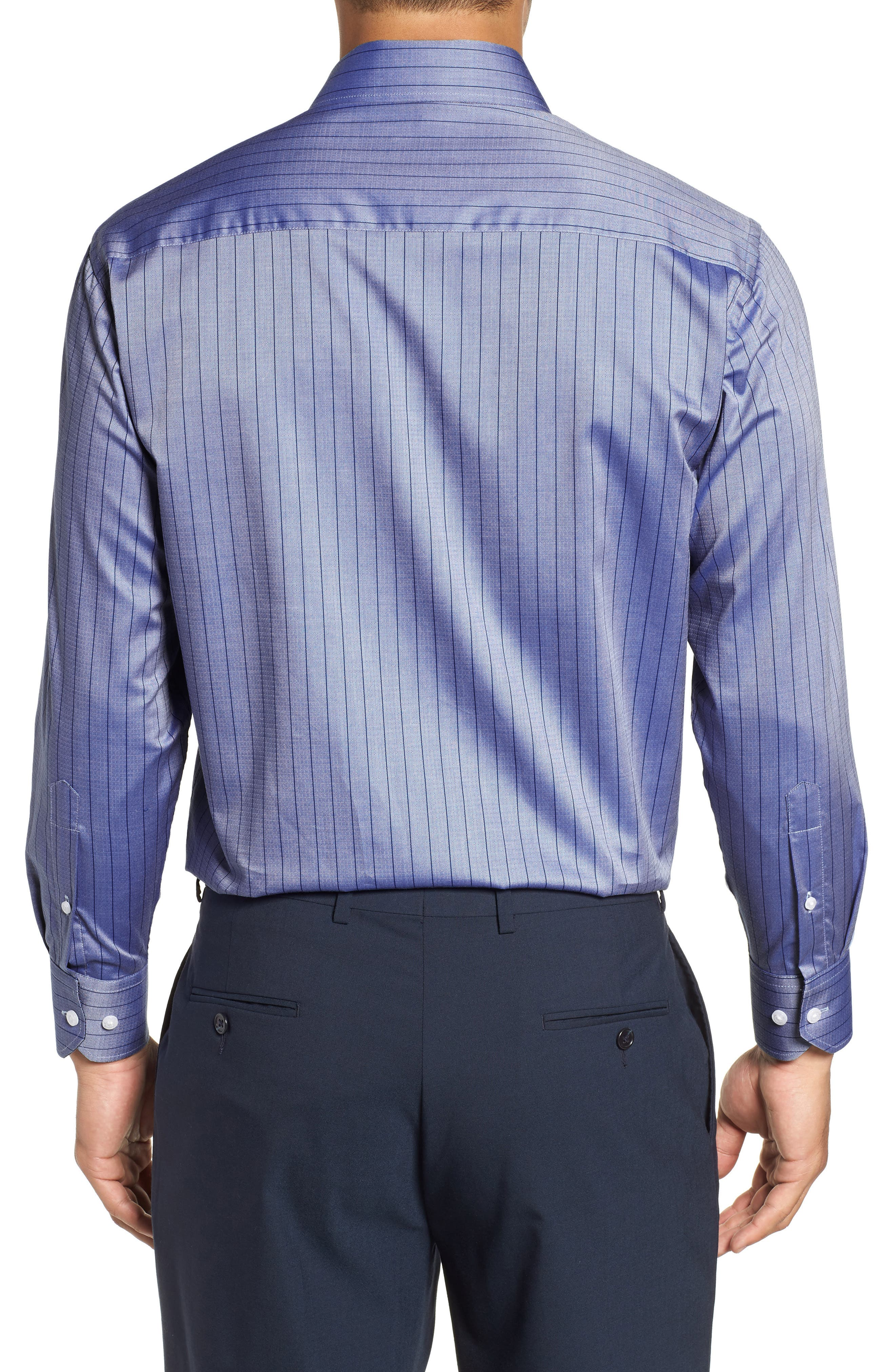 Regular Fit Stripe Dress Shirt,                             Alternate thumbnail 3, color,                             BLUE