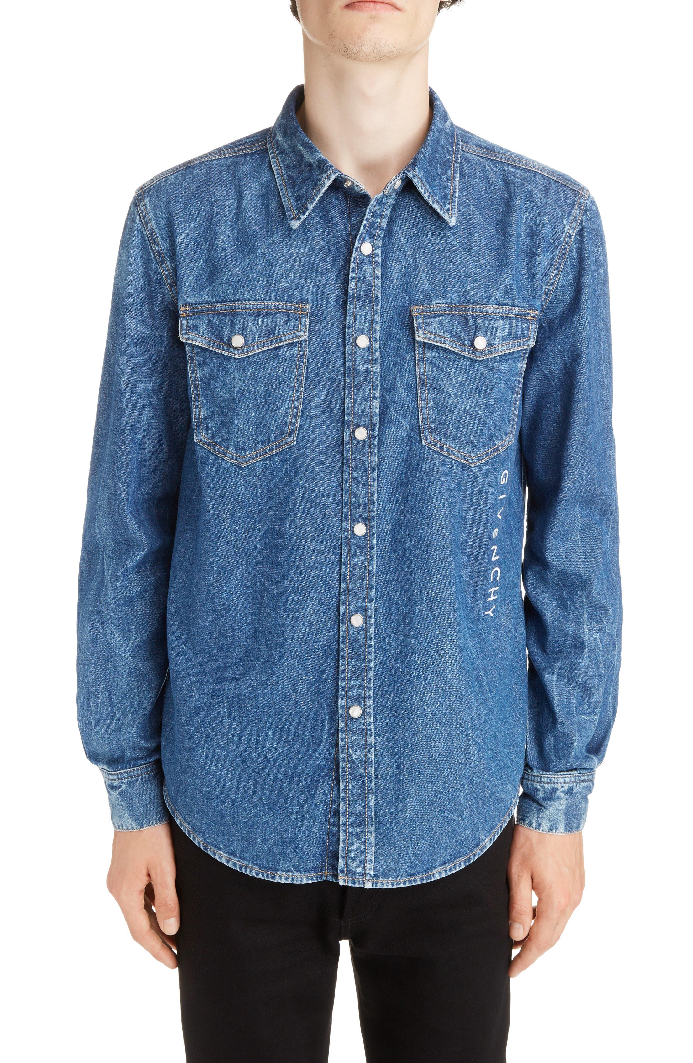 GIVENCHY Denim Shirt, Main, color, MEDIUM BLUE