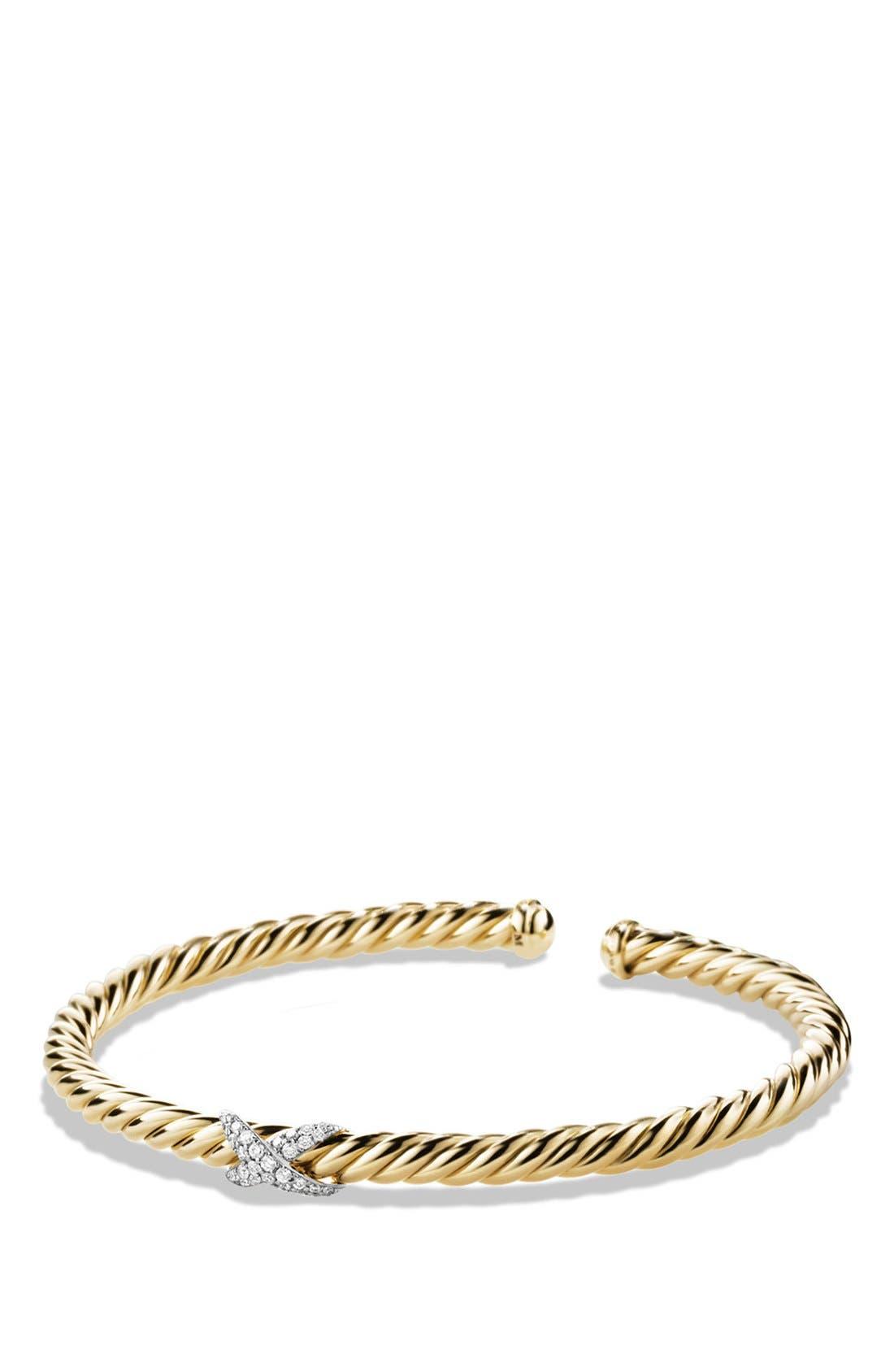 'X - Cablespira' Bracelet with Diamonds in 18k Gold, Main, color, DIAMOND