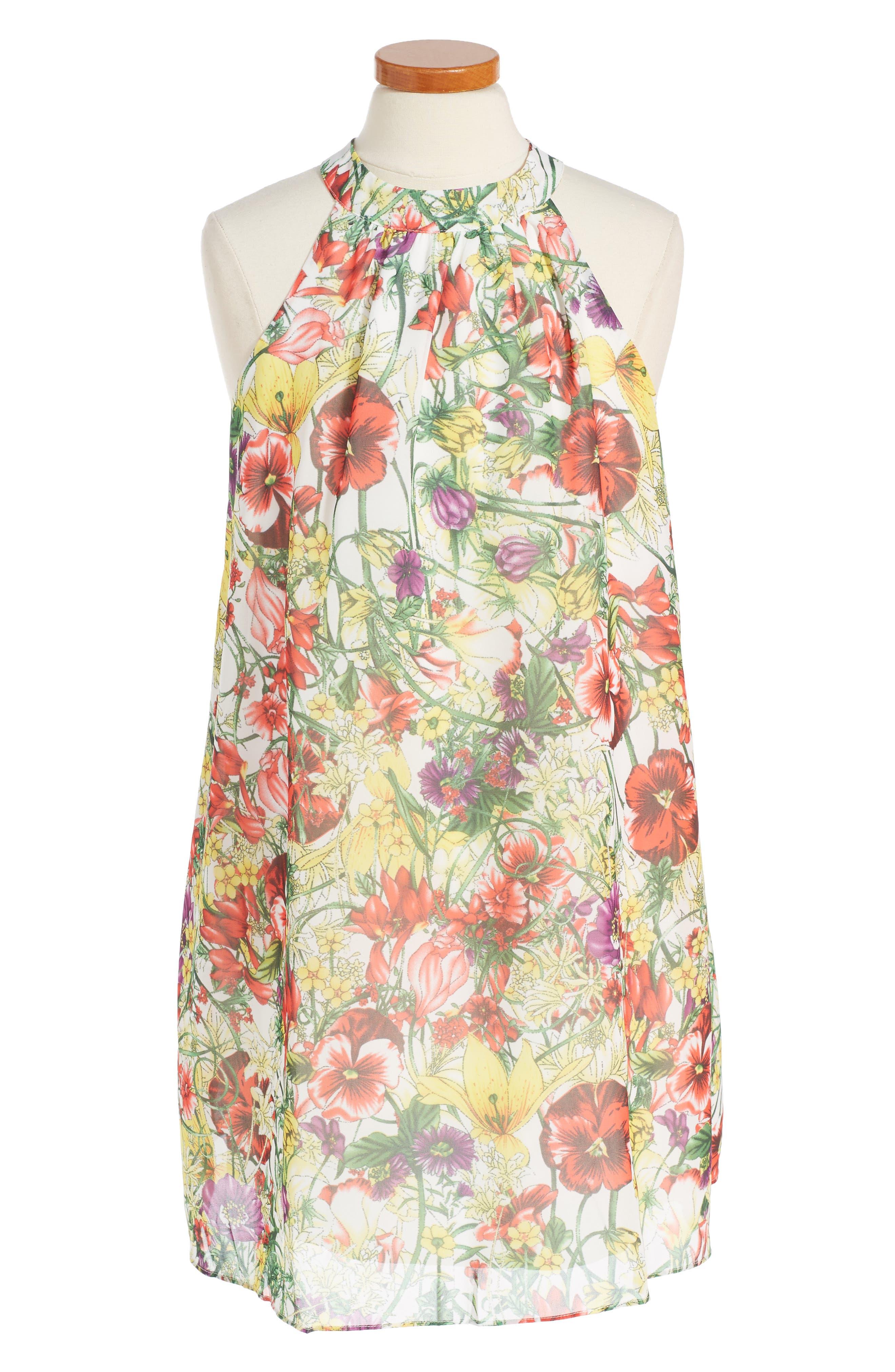 Print Chiffon Halter Dress,                             Alternate thumbnail 6, color,