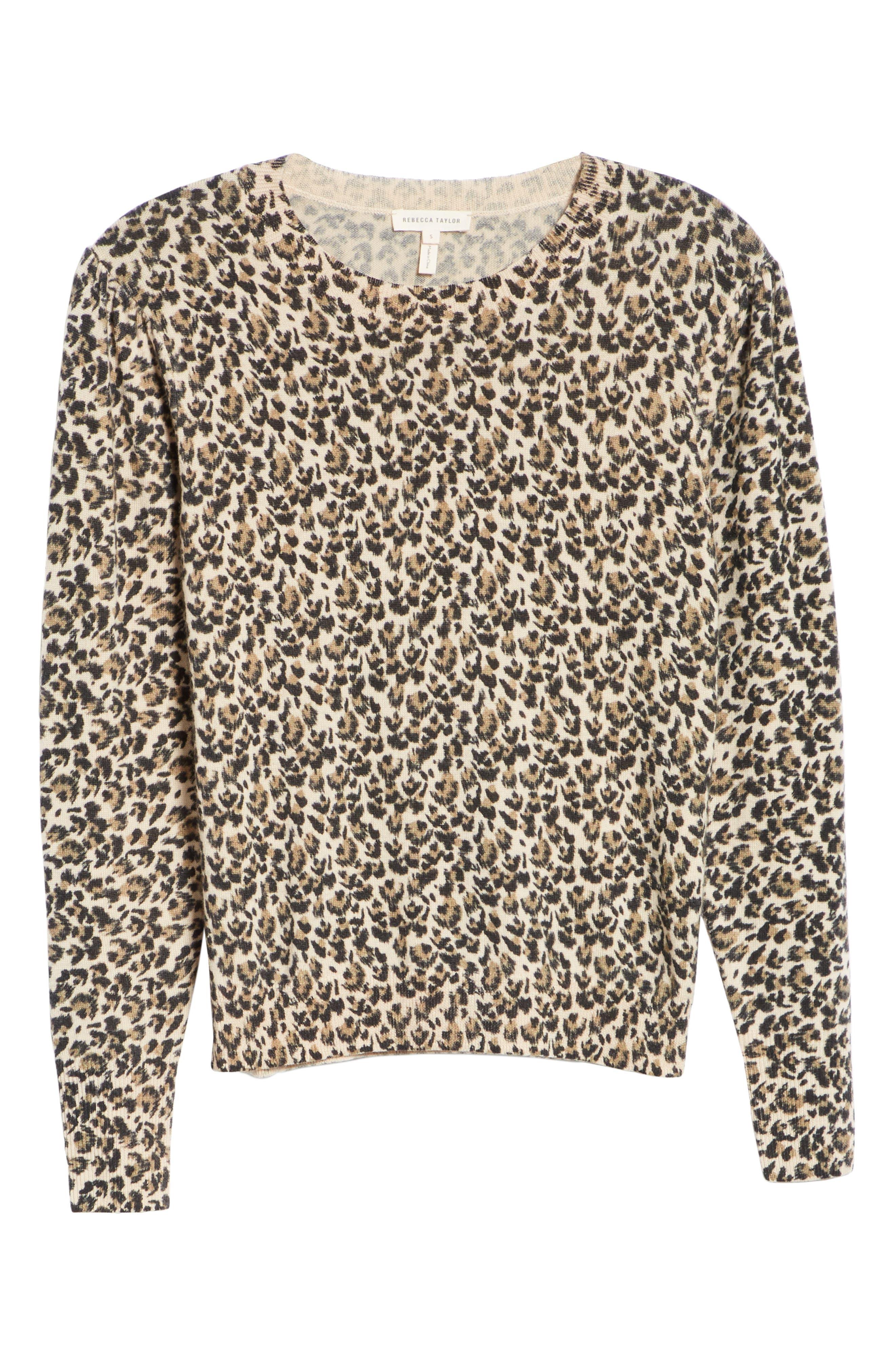 Leopard Print Wool Sweater,                             Alternate thumbnail 6, color,                             250