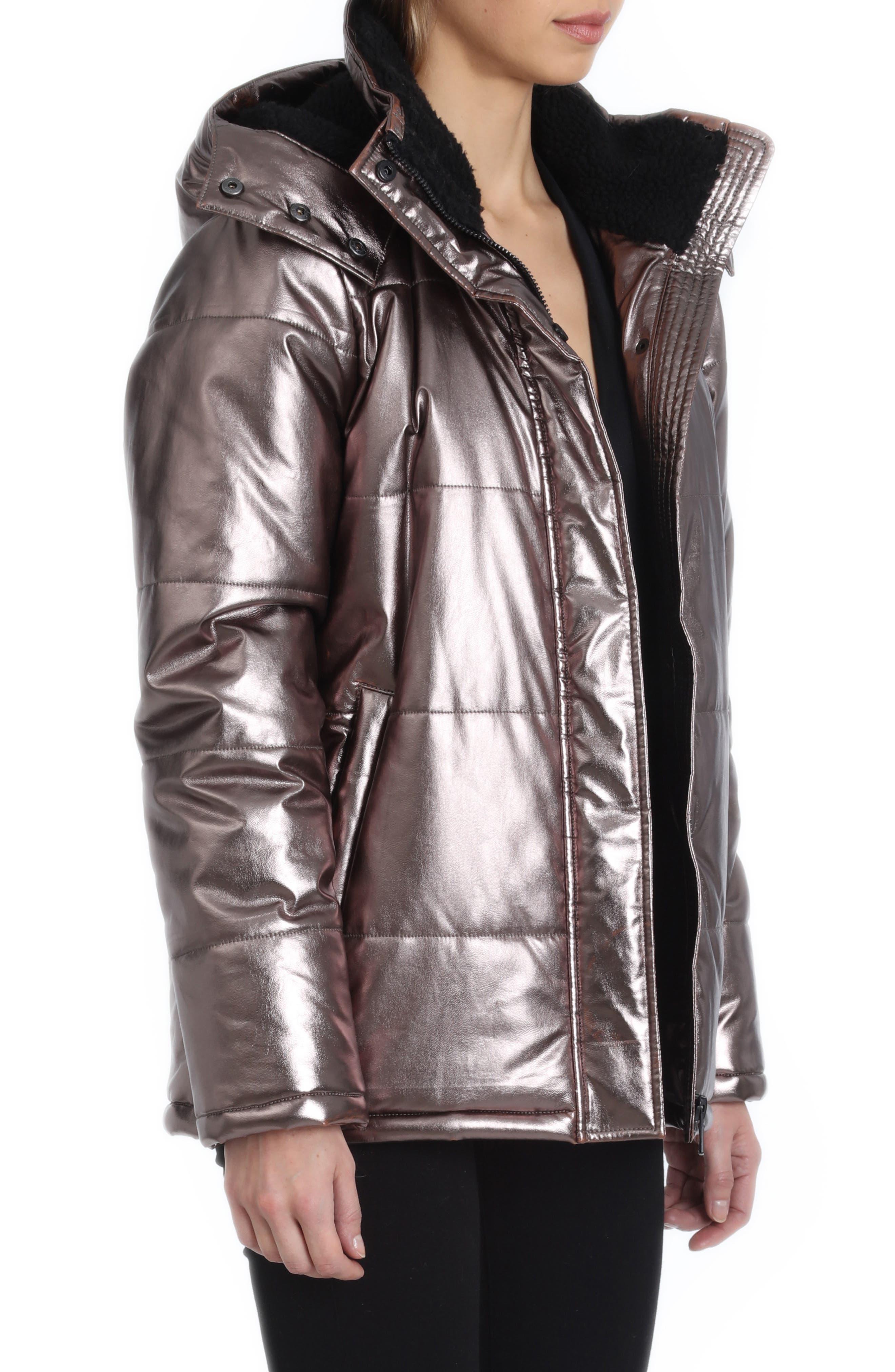 Metallic Puffer Coat,                             Alternate thumbnail 3, color,                             BRONZE