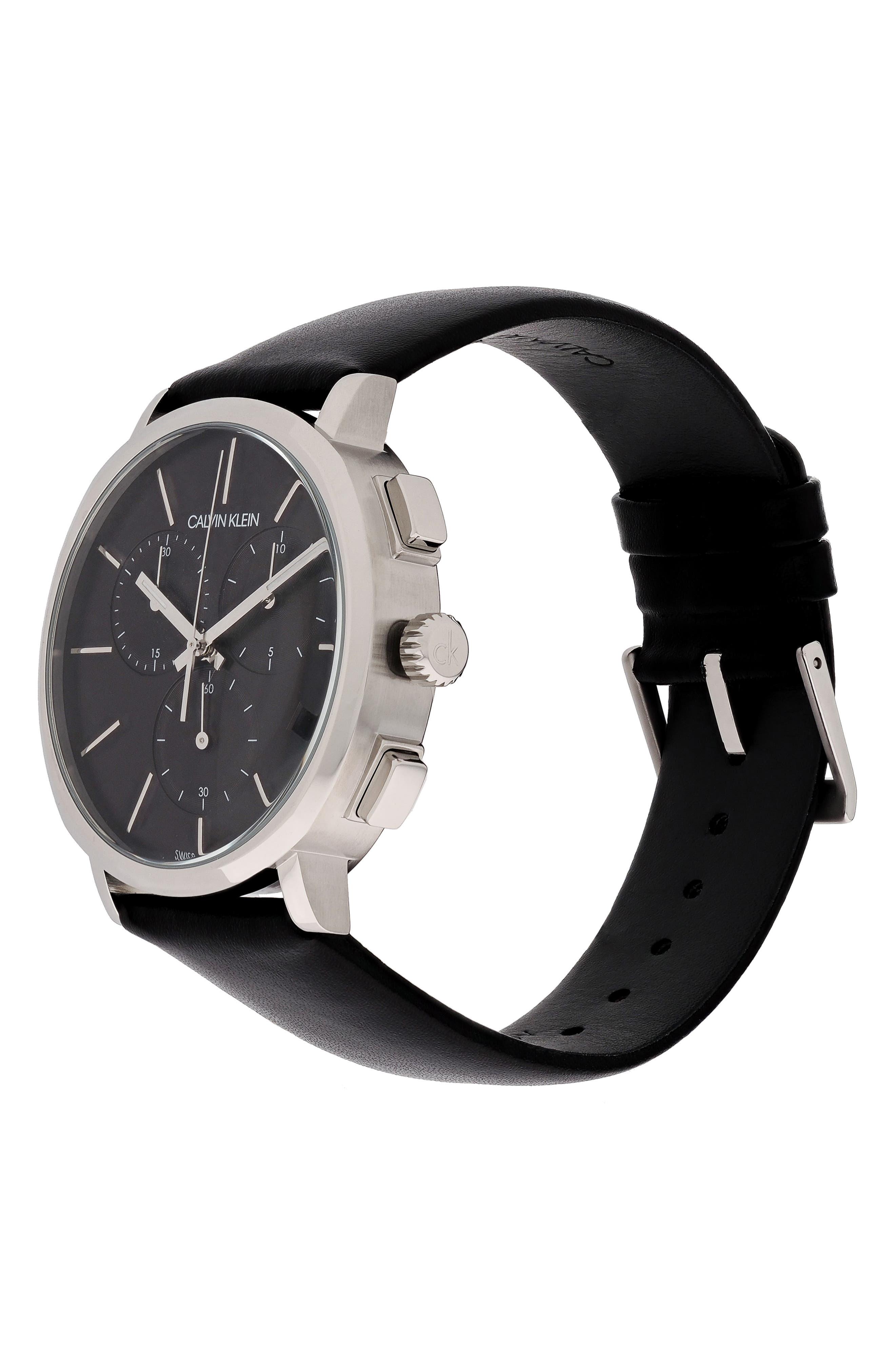 Posh Chronograph Leather Band Watch, 42mm,                             Alternate thumbnail 4, color,                             BLACK/ SILVER/ BLACK