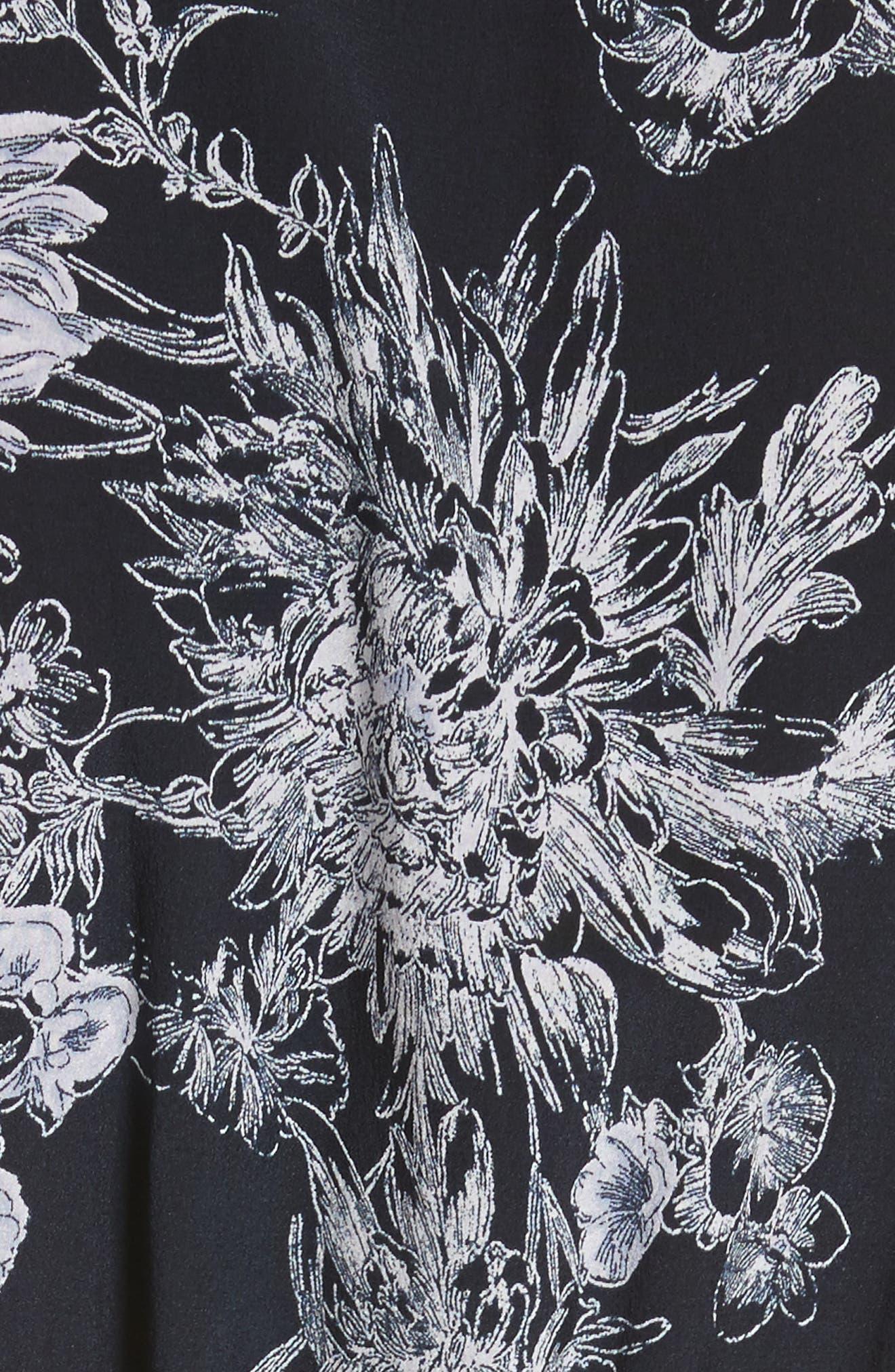 Quincy Flutter Trim Silk Dress,                             Alternate thumbnail 5, color,                             418