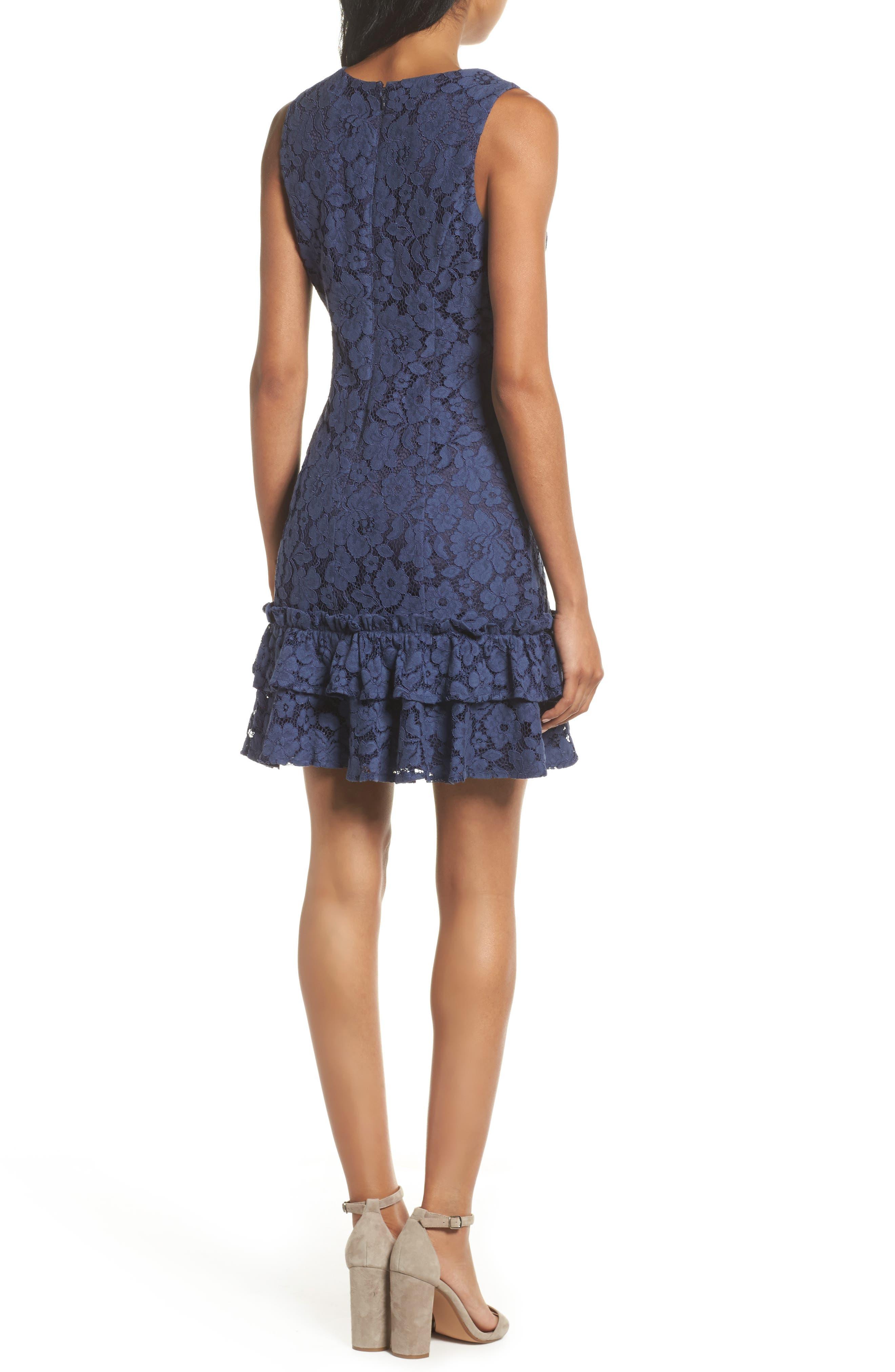 Ruffle Lace Sheath Dress,                             Alternate thumbnail 2, color,                             410