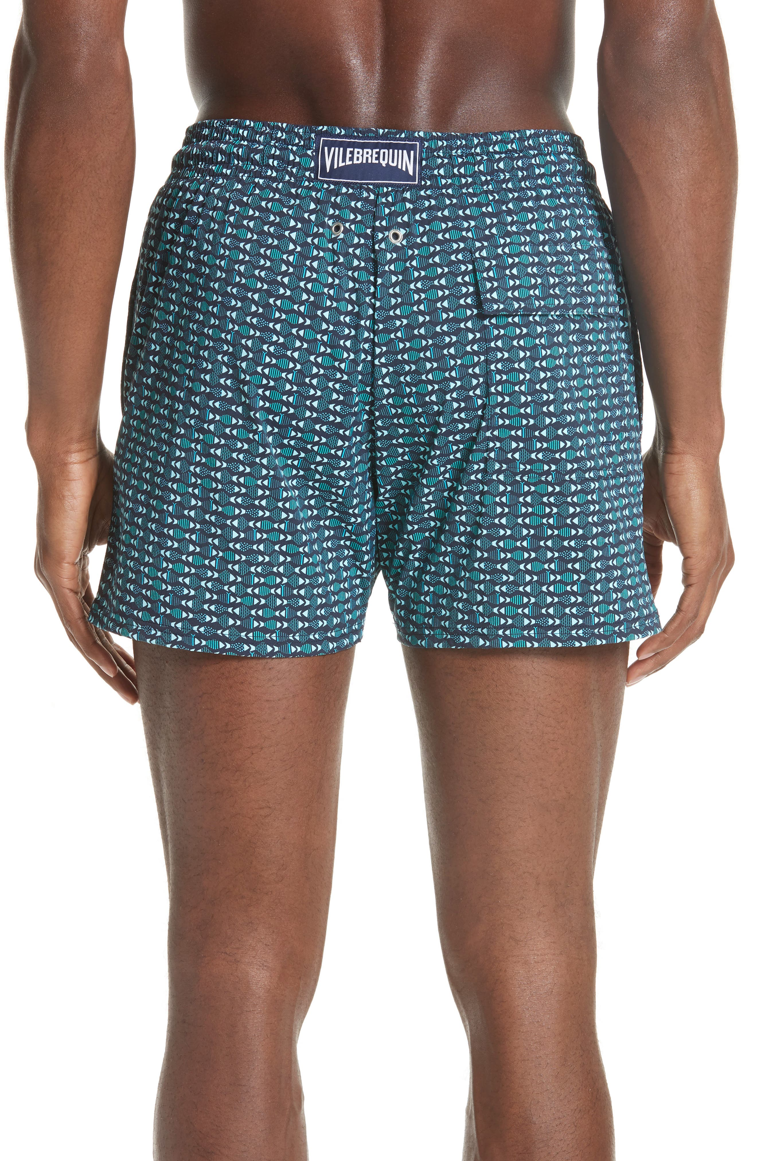 VILEBREQUIN,                             Modernist Fish Print Swim Trunks,                             Alternate thumbnail 2, color,                             NAVY
