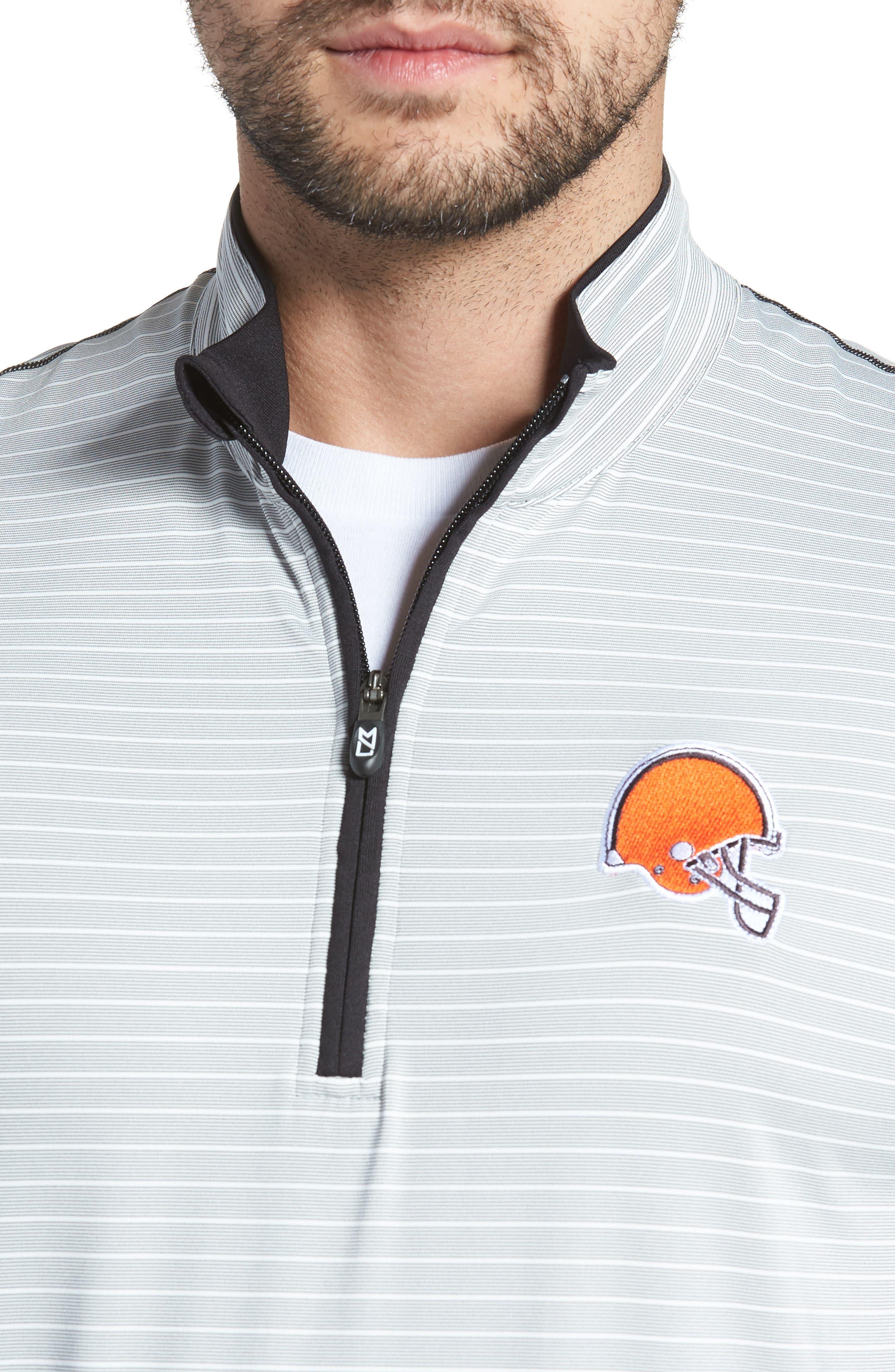 Meridian - Cleveland Browns Regular Fit Half Zip Pullover,                             Alternate thumbnail 4, color,                             BLACK