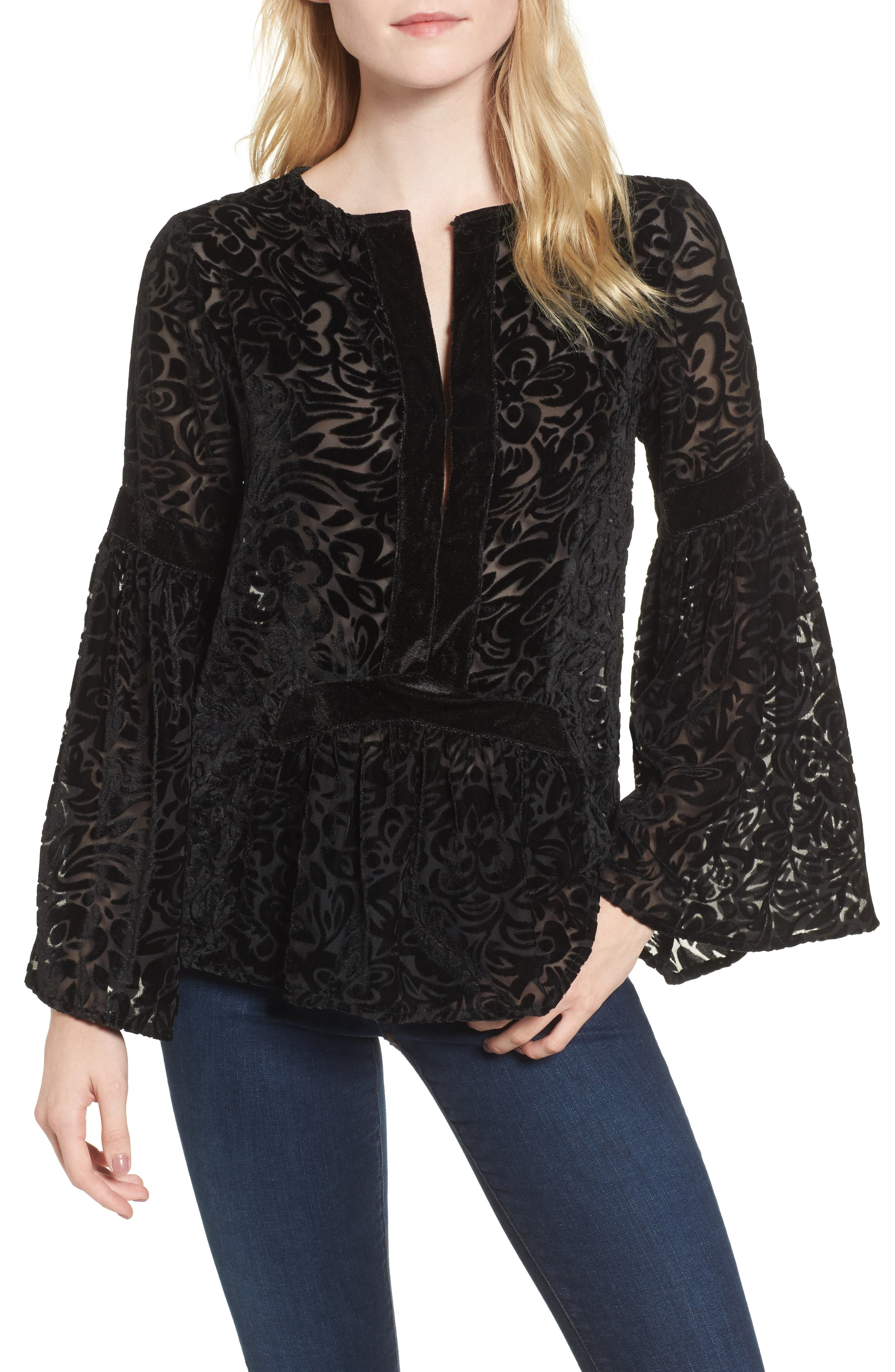 Velvet Burnout Bell Sleeve Peasant Top,                         Main,                         color, 001