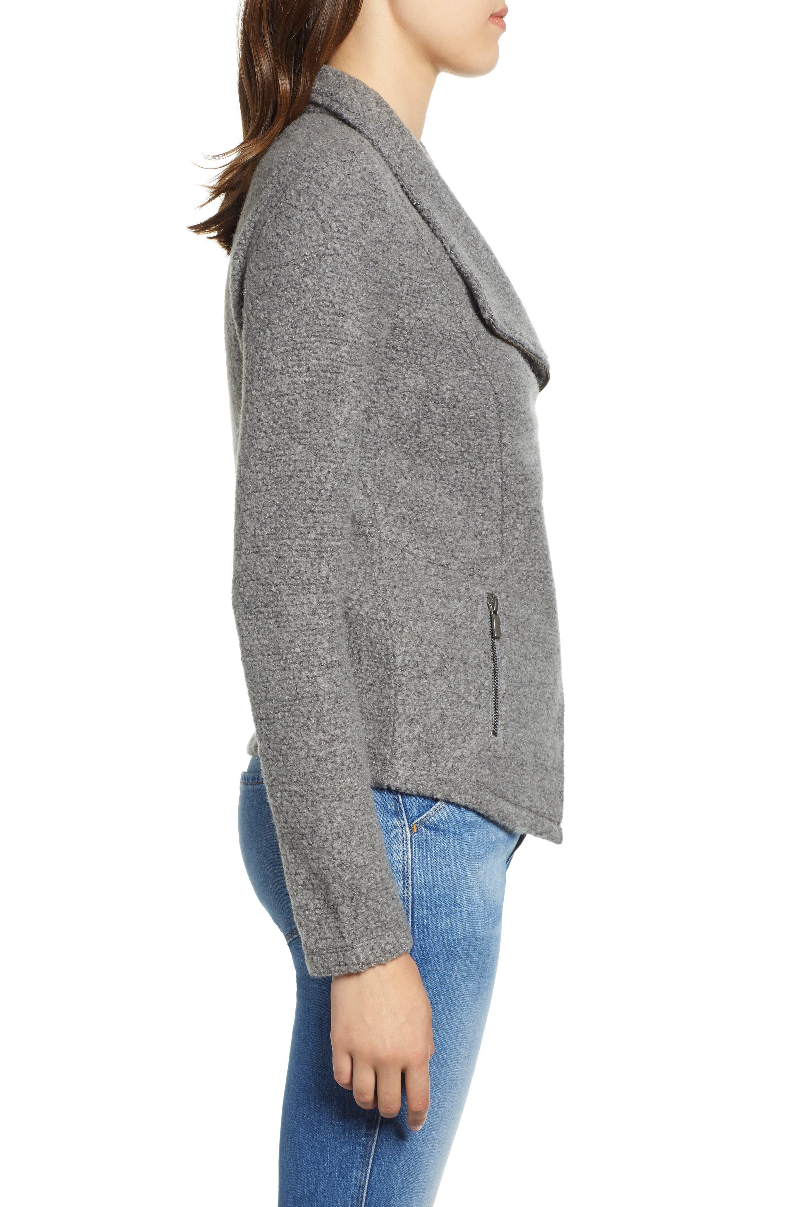 Knit Moto Jacket,                             Alternate thumbnail 3, color,                             DARK HEATHER GREY