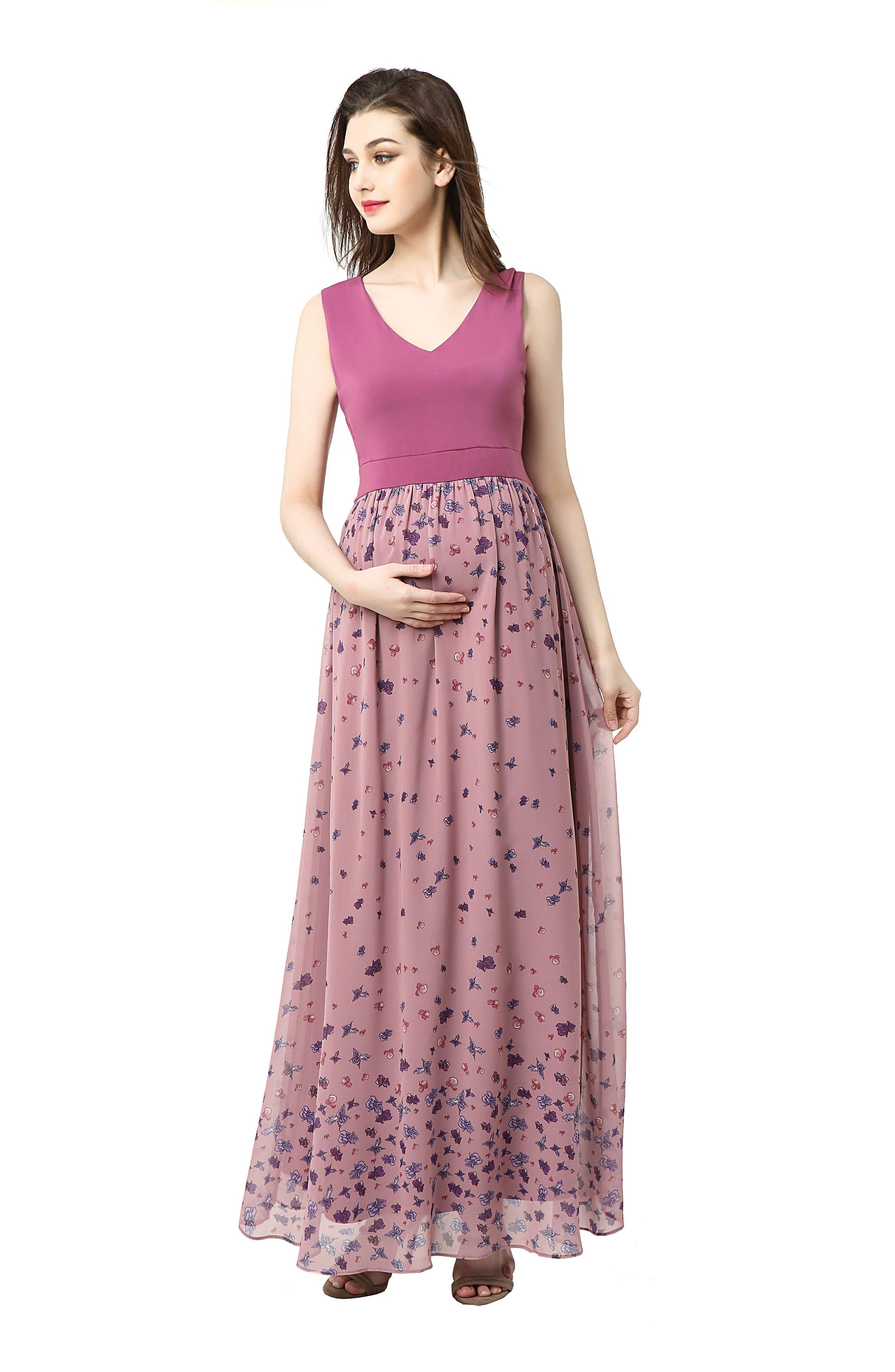 Armanda Maternity Maxi Dress,                             Alternate thumbnail 5, color,                             ROSE PINK