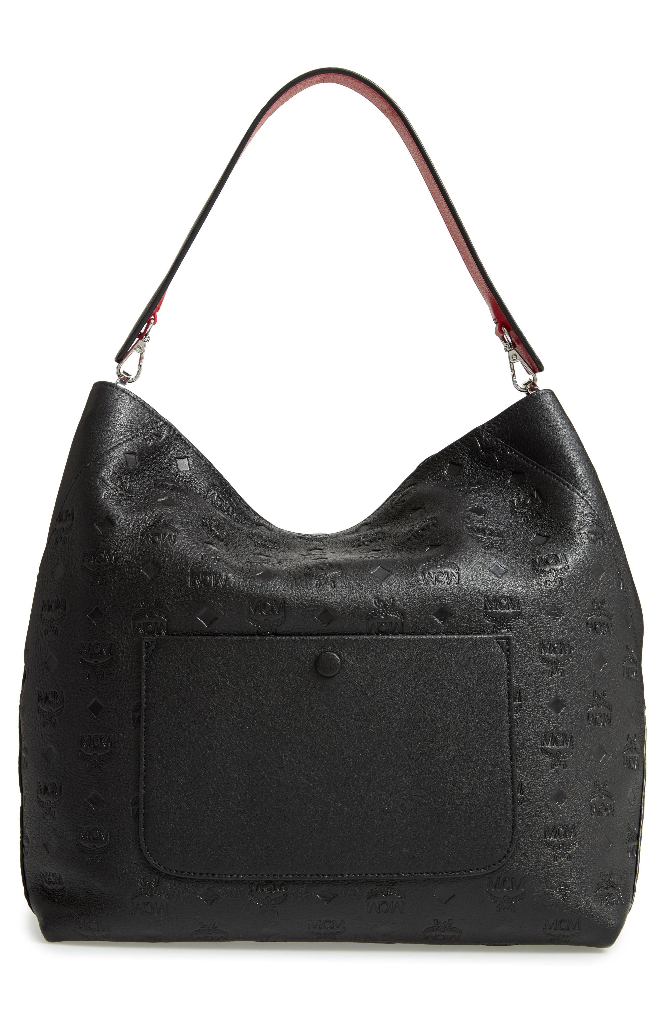 Klara Monogrammed Leather Hobo Bag,                             Alternate thumbnail 4, color,                             001