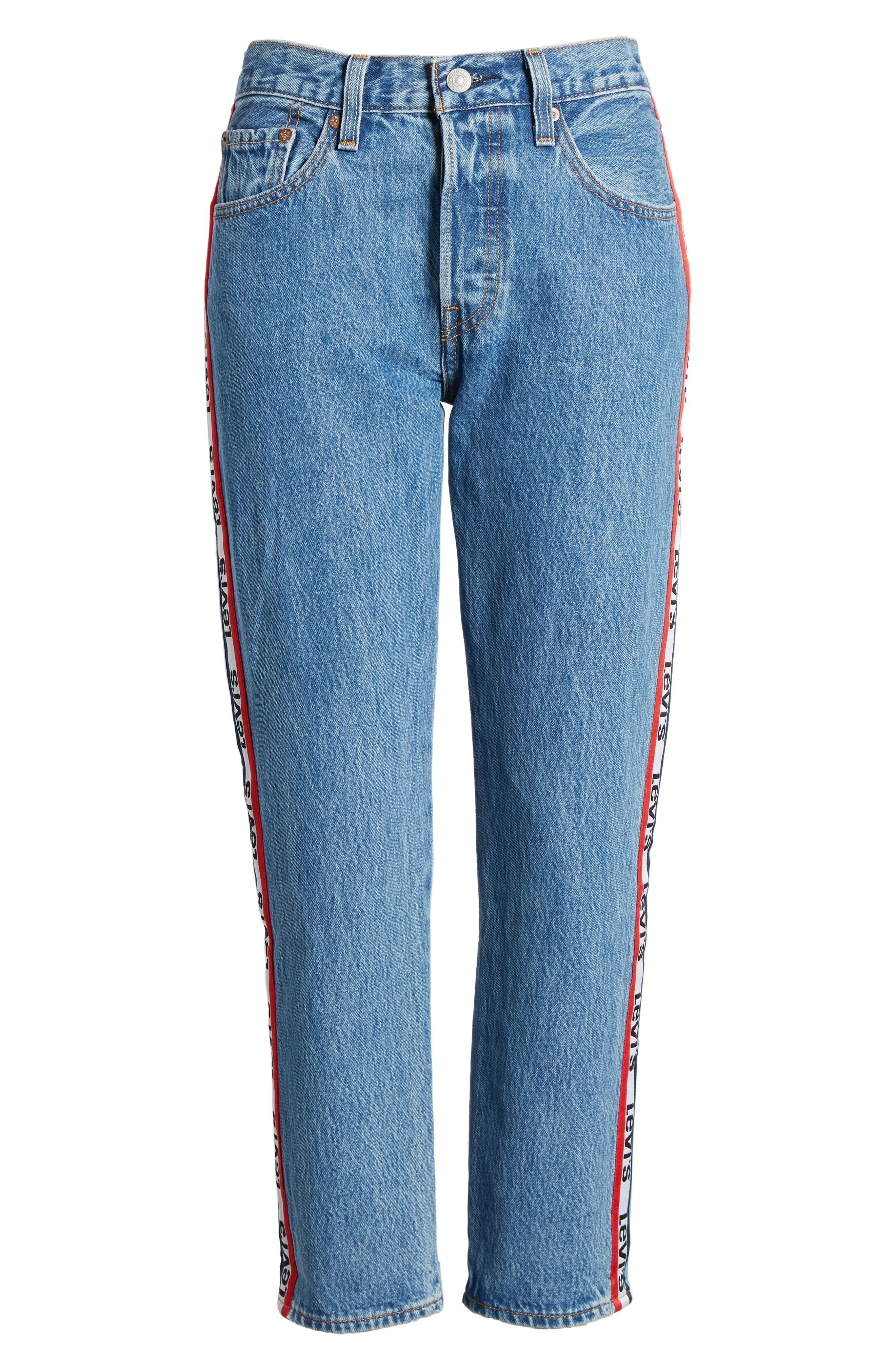 501 High Waist Crop Jeans,                             Alternate thumbnail 6, color,                             SPECTATOR SPORT