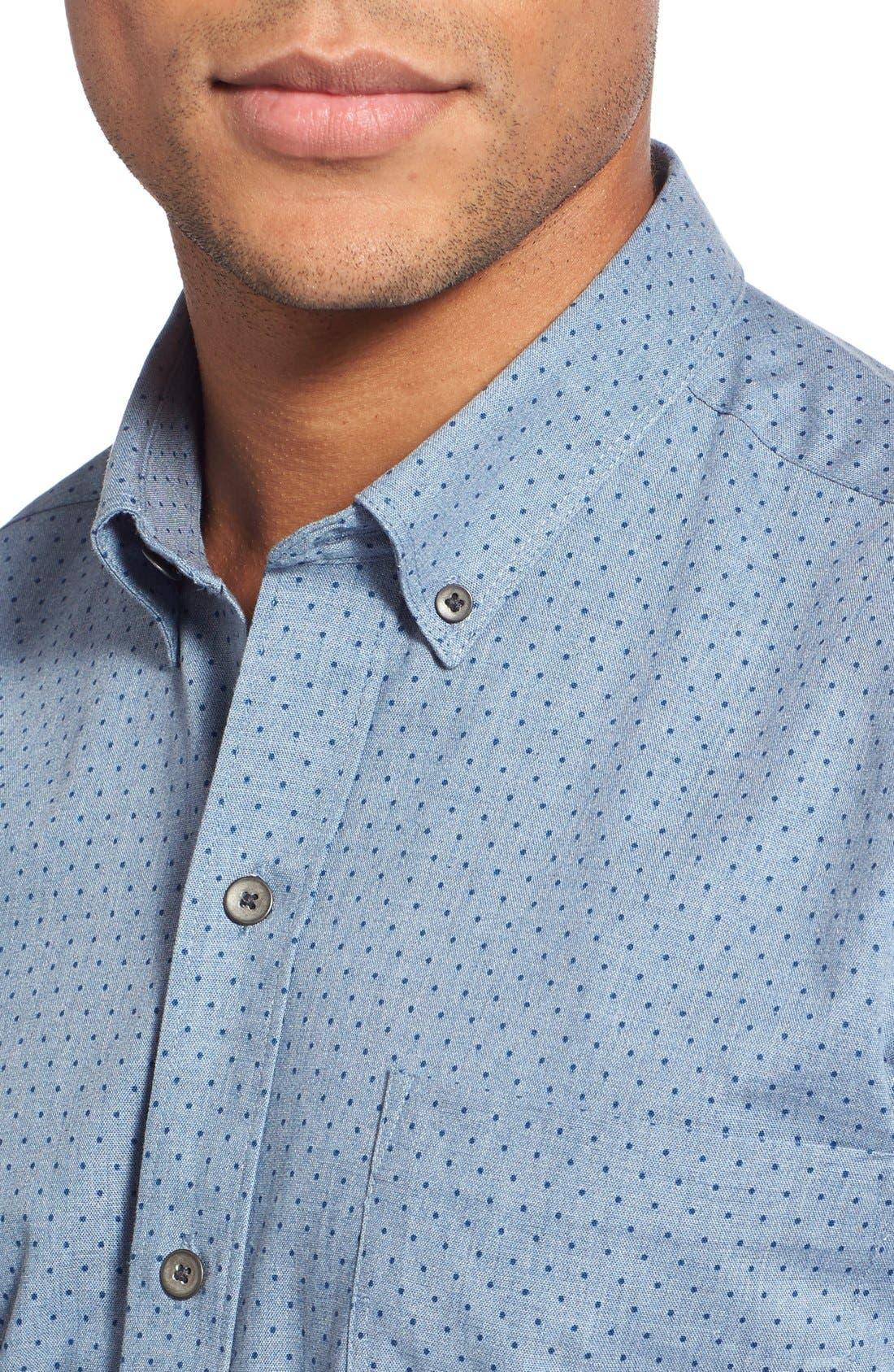 'Reworkd' Trim Fit Dot Print Mixed Media Sport Shirt,                             Alternate thumbnail 15, color,