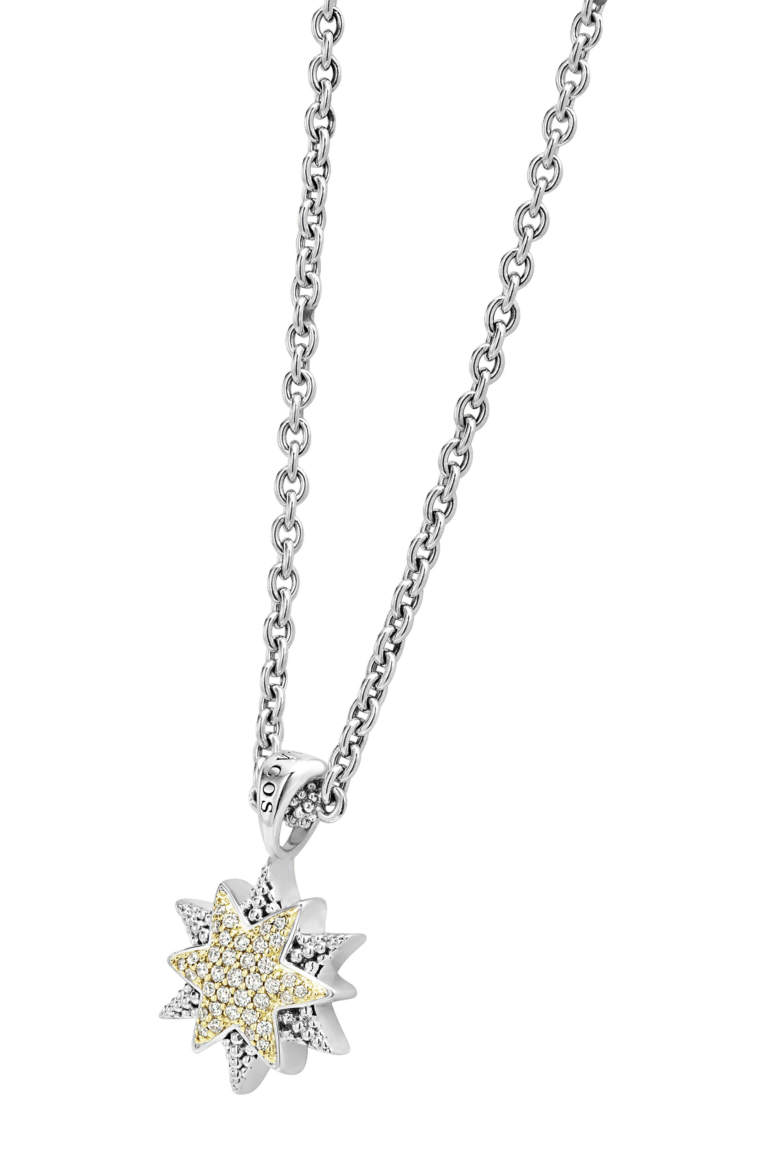 North Star Small Diamond Pendant Necklace,                             Alternate thumbnail 3, color,                             DIAMOND
