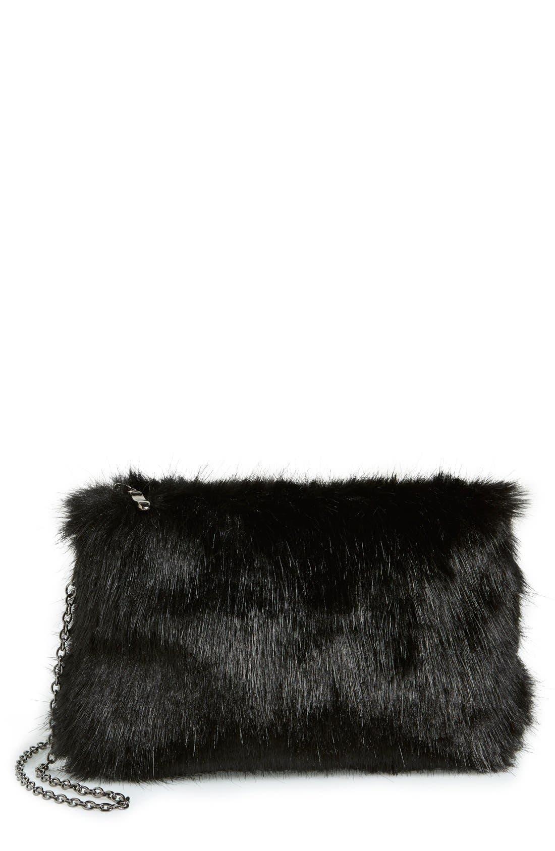 LA DOUBLE 7 No Brand Needed Faux Fur Convertible Clutch, Main, color, 001