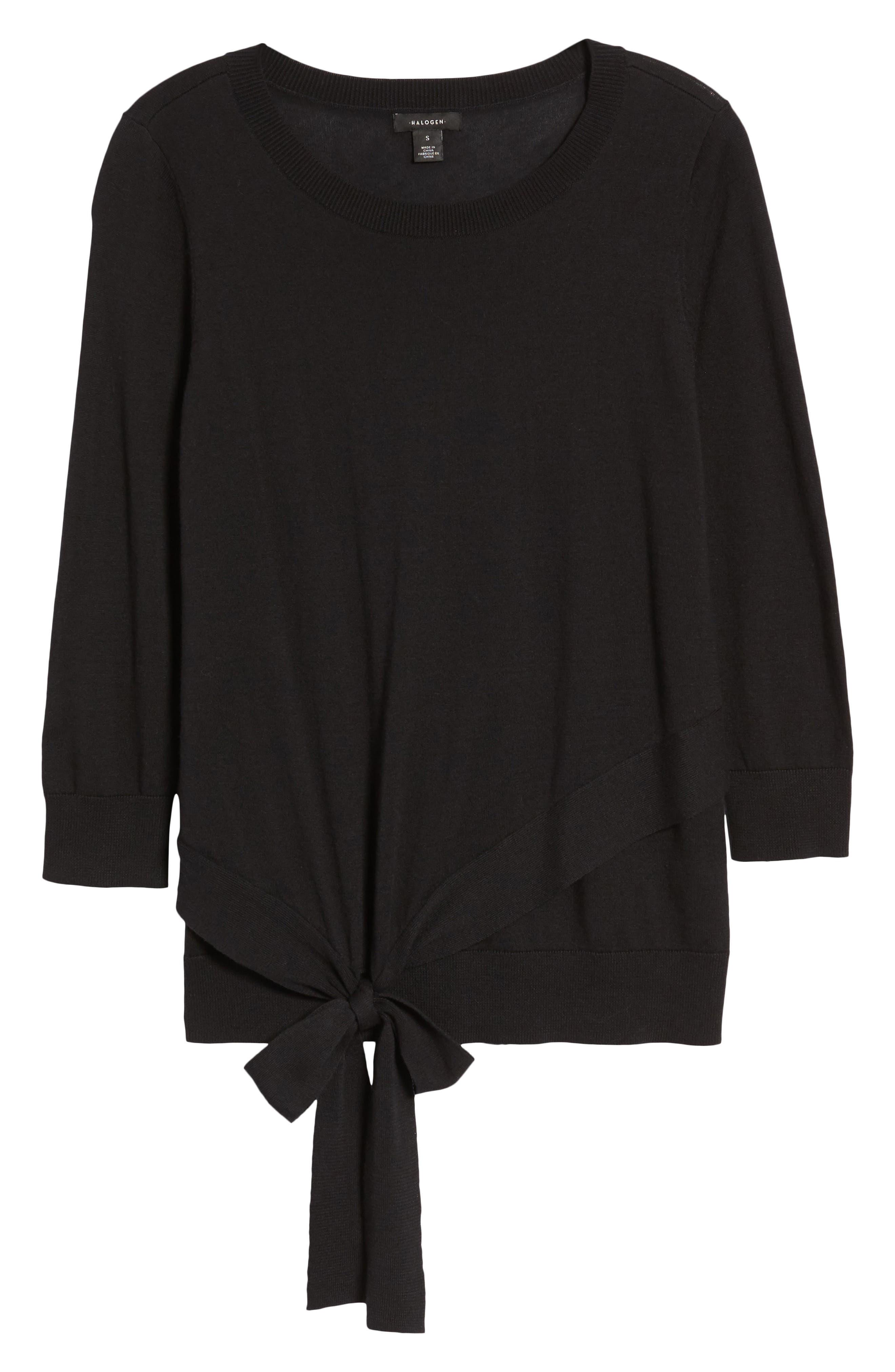 Pima Cotton Blend Tie Sweater,                             Alternate thumbnail 7, color,                             001