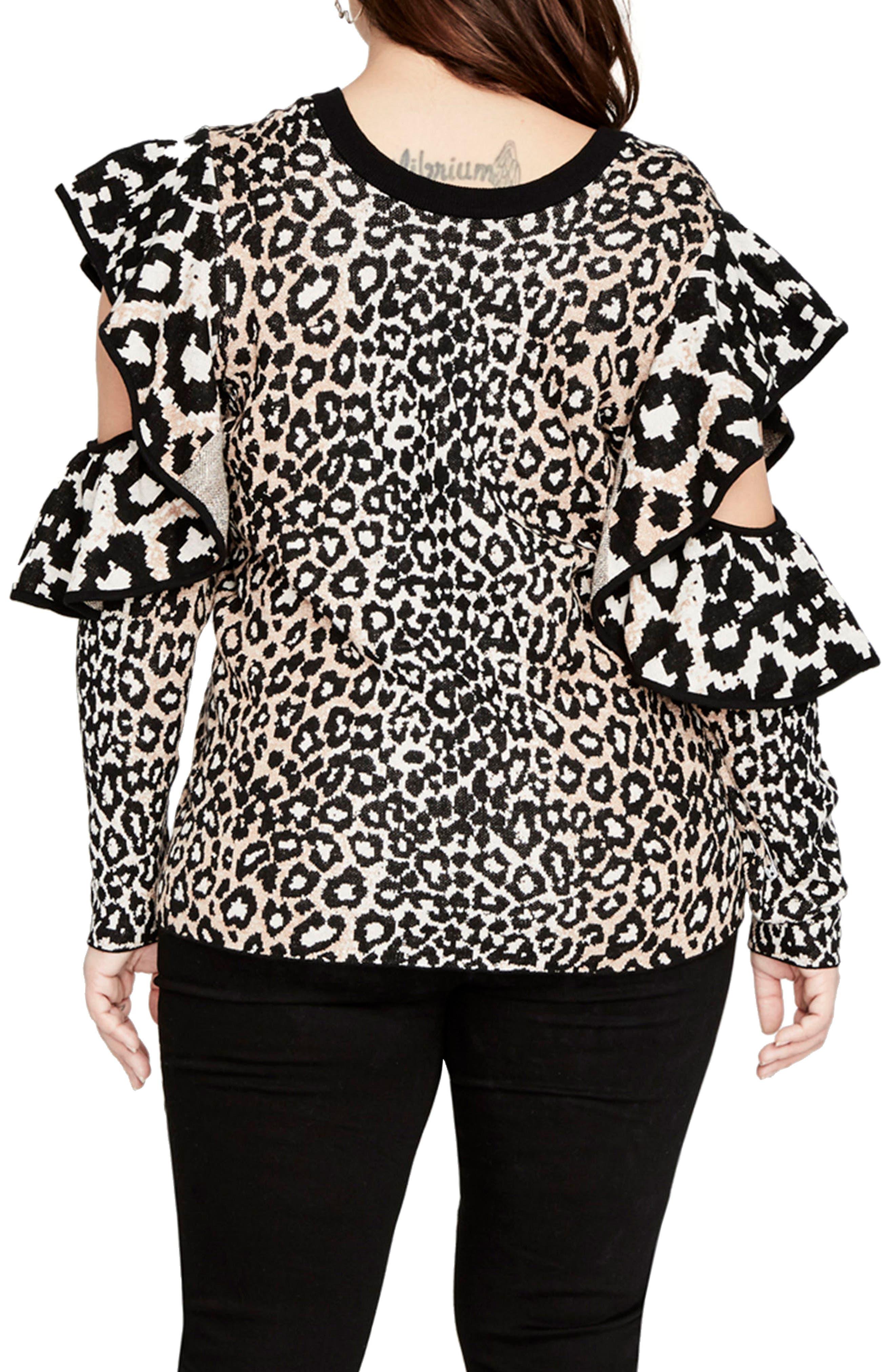 Ruffle Sleeve Leopard Sweater,                             Alternate thumbnail 2, color,                             296