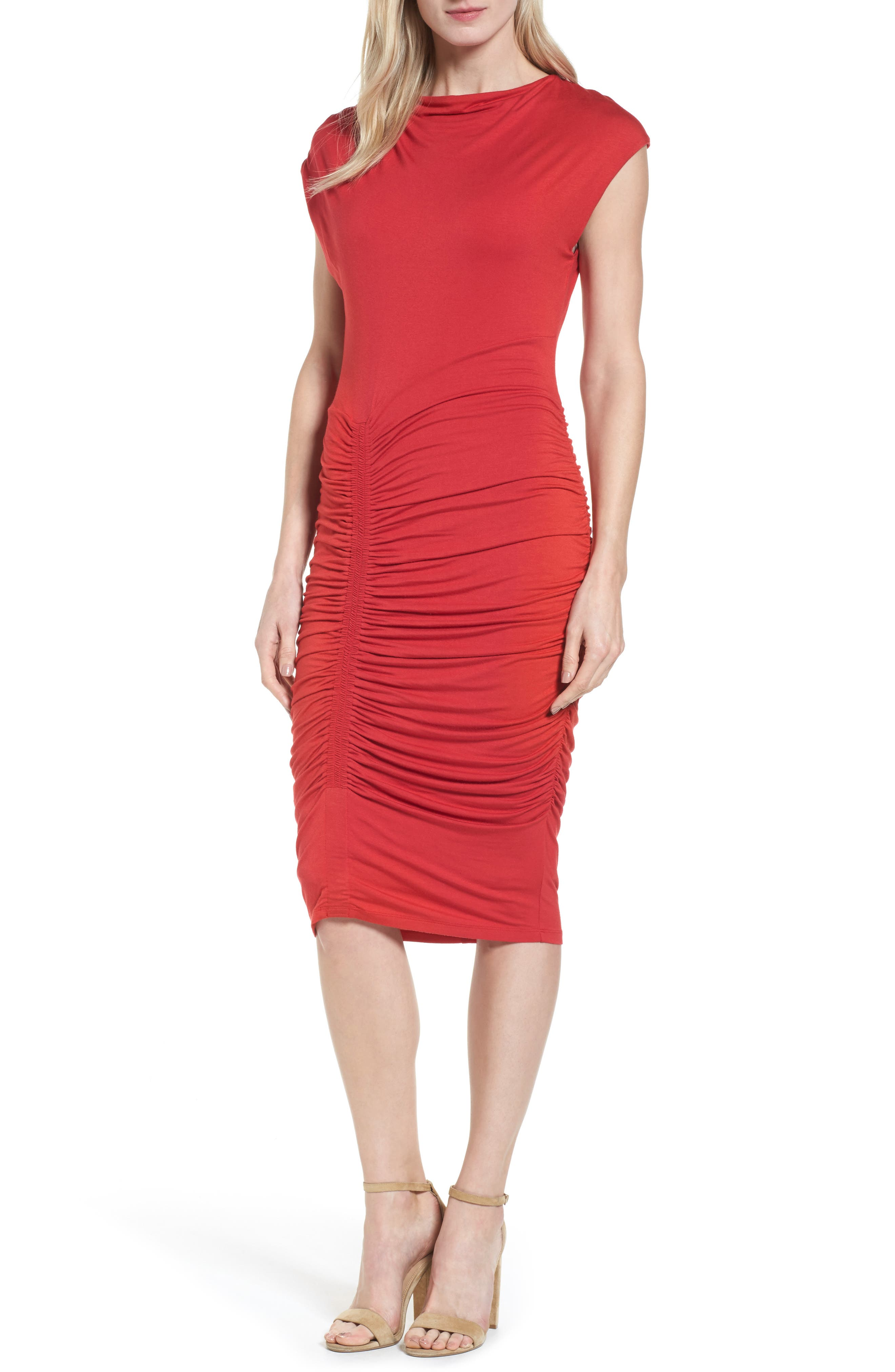 Ruched Detail Sheath Dress,                             Alternate thumbnail 15, color,