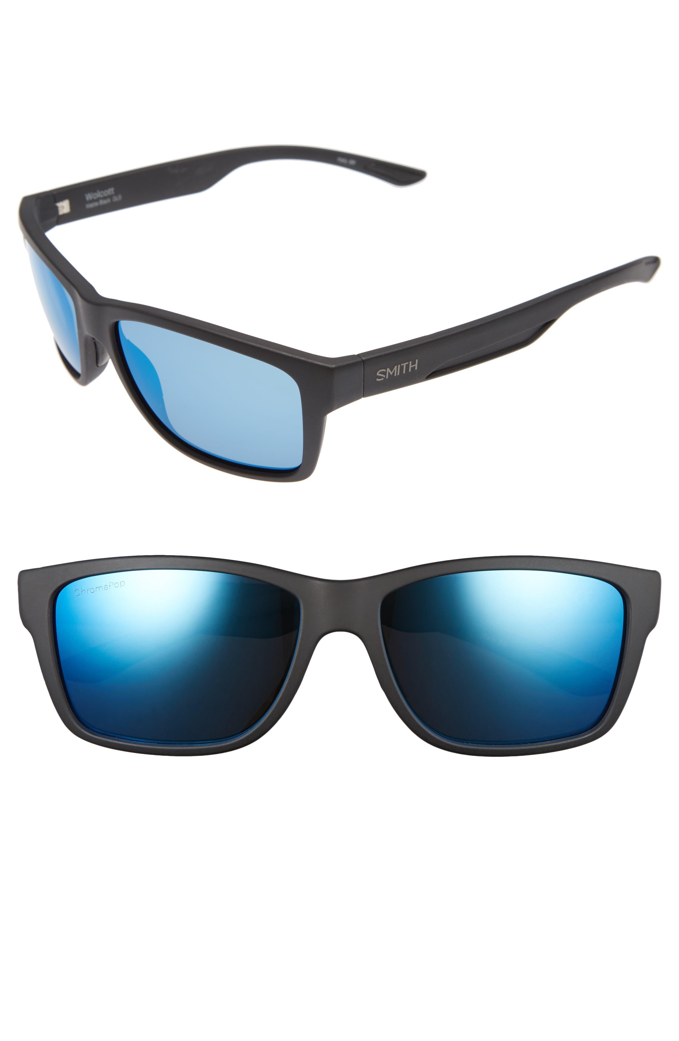 Wolcott 58mm Polarized Sunglasses,                             Main thumbnail 1, color,                             MATTE BLACK/ BLUE MIRROR LENS