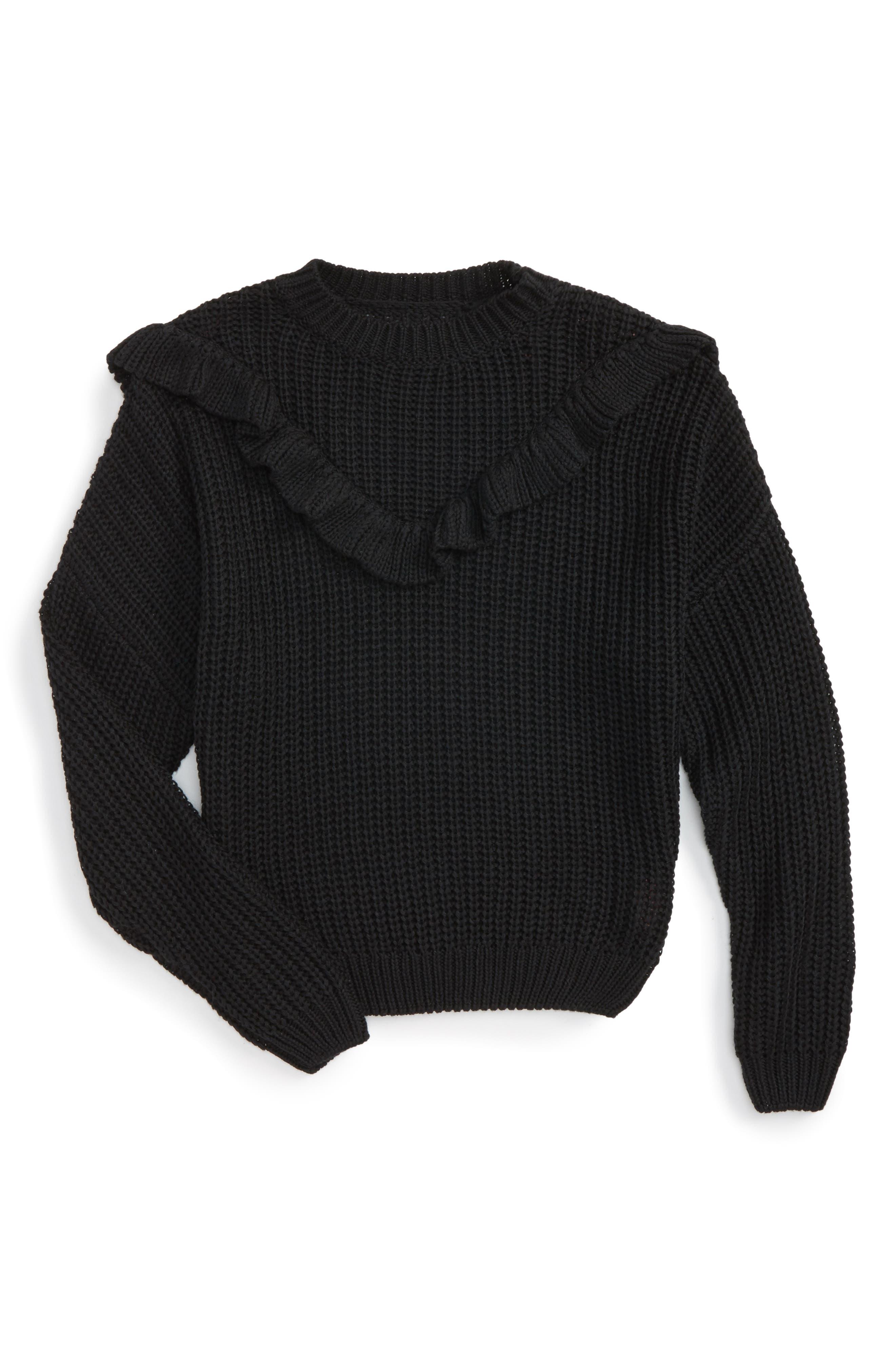 BLANCNYC Ruffle Sweater,                             Main thumbnail 1, color,