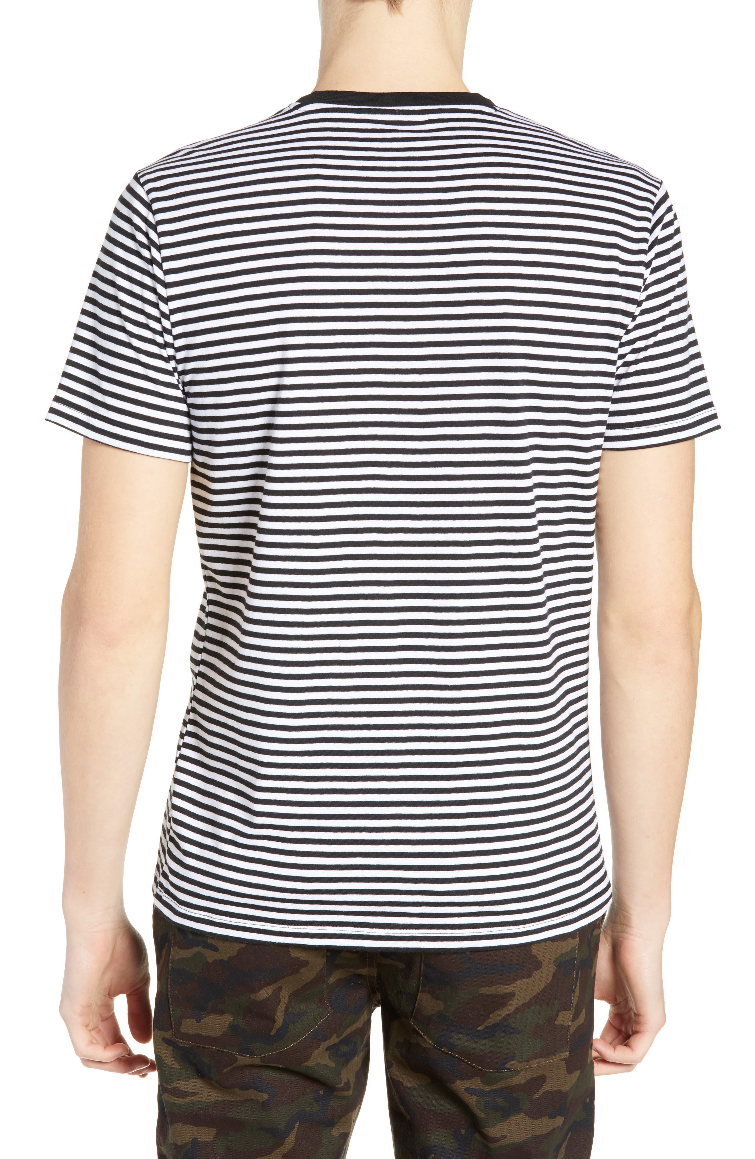 Stripe Crewneck T-Shirt,                             Alternate thumbnail 2, color,                             BLACK ROCK - WHITE STRIPE