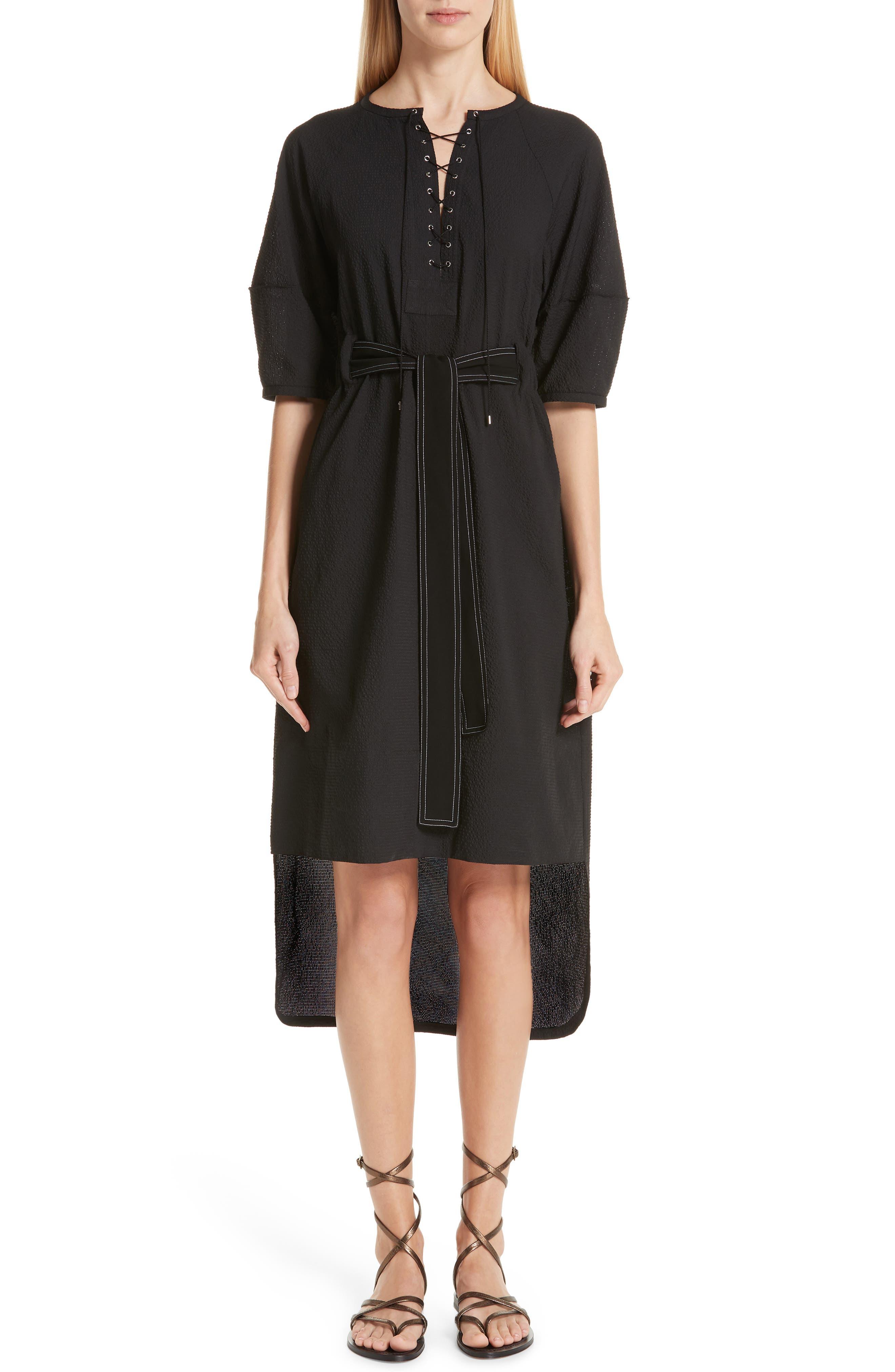 Yigal Azrouel Seersucker Tunic Dress, Black