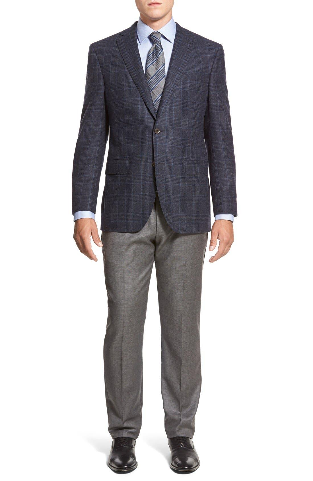 ZZDNUHUGO BOSS,                             BOSS HUGO BOSS 'Sharp' Flat Front Wool Trousers,                             Alternate thumbnail 2, color,                             001