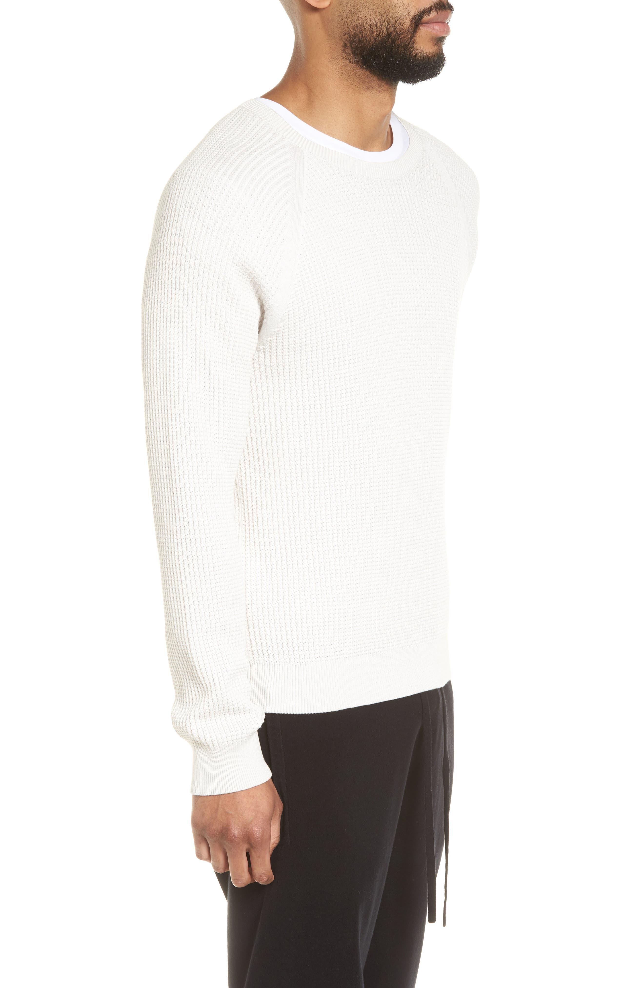Slim Fit Thermal Knit Raglan Sweater,                             Alternate thumbnail 3, color,                             100