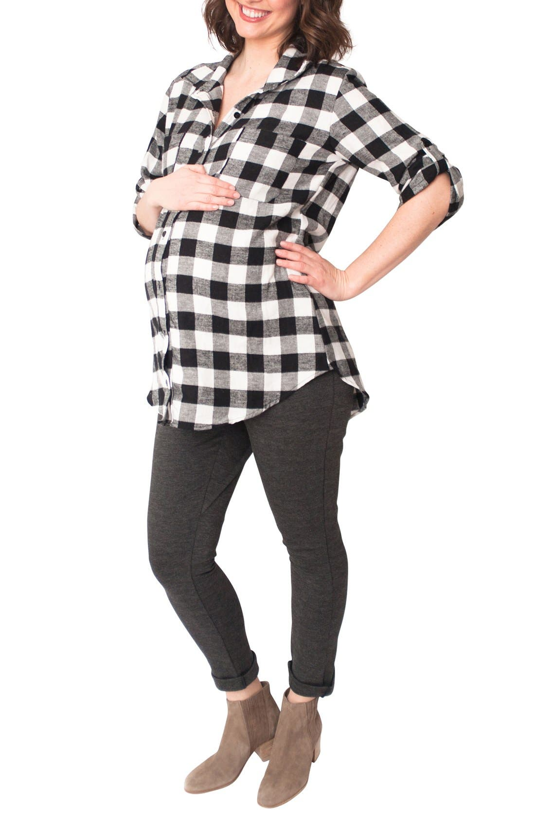 'Campbell' Plaid Maternity Top,                             Alternate thumbnail 3, color,                             003