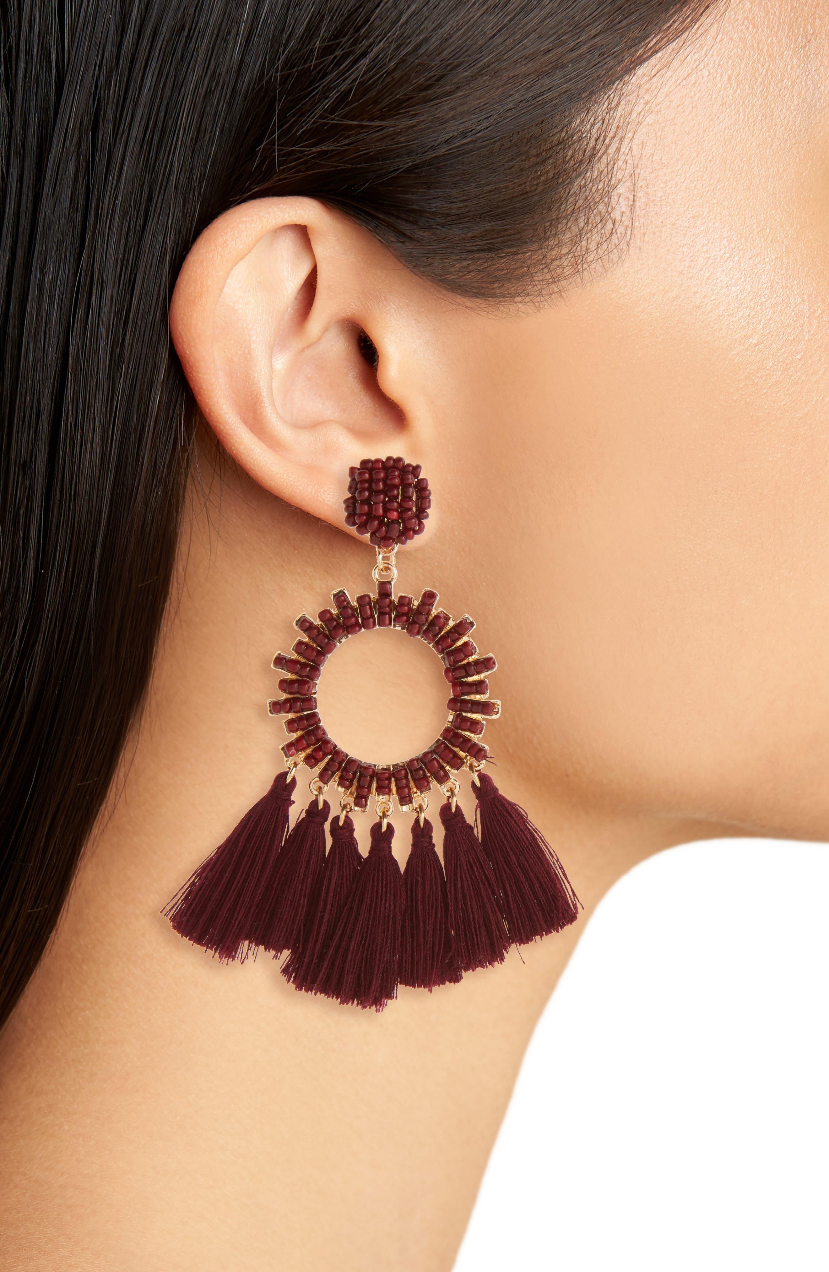 Beaded Tassel Hoop Earrings,                             Alternate thumbnail 2, color,                             710