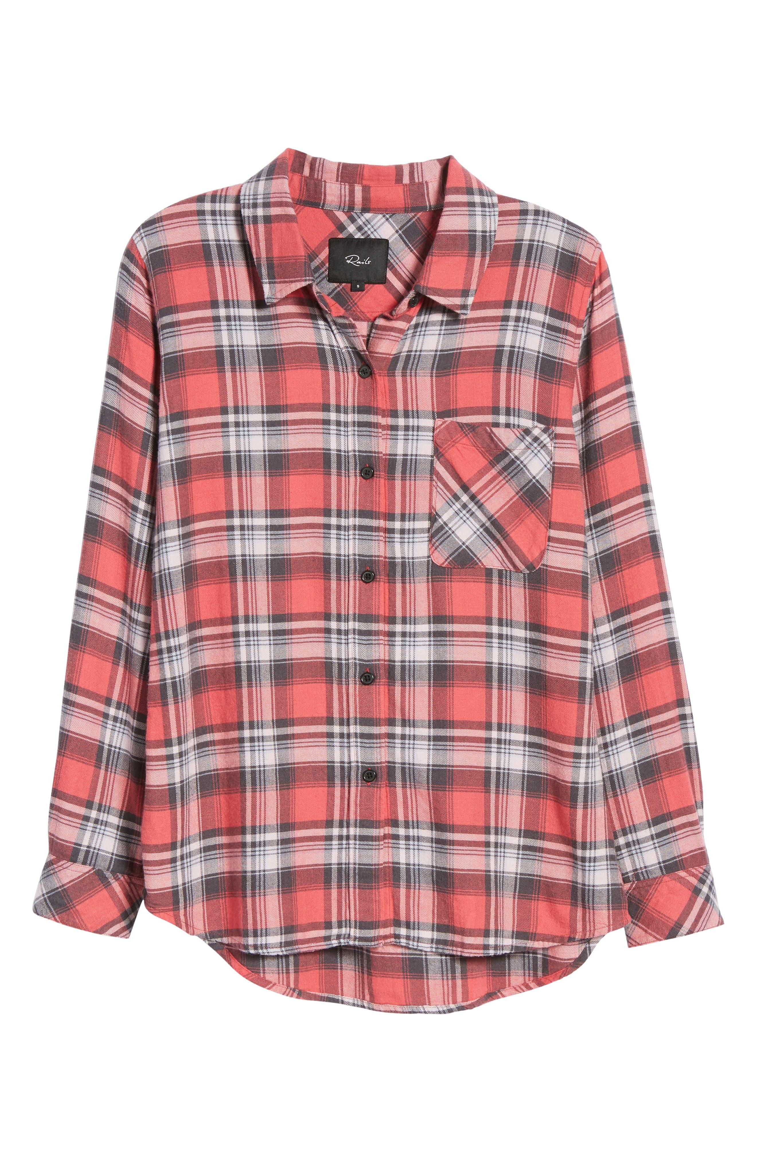 Milo Plaid Shirt,                             Alternate thumbnail 6, color,                             BONFIRE/ ASH