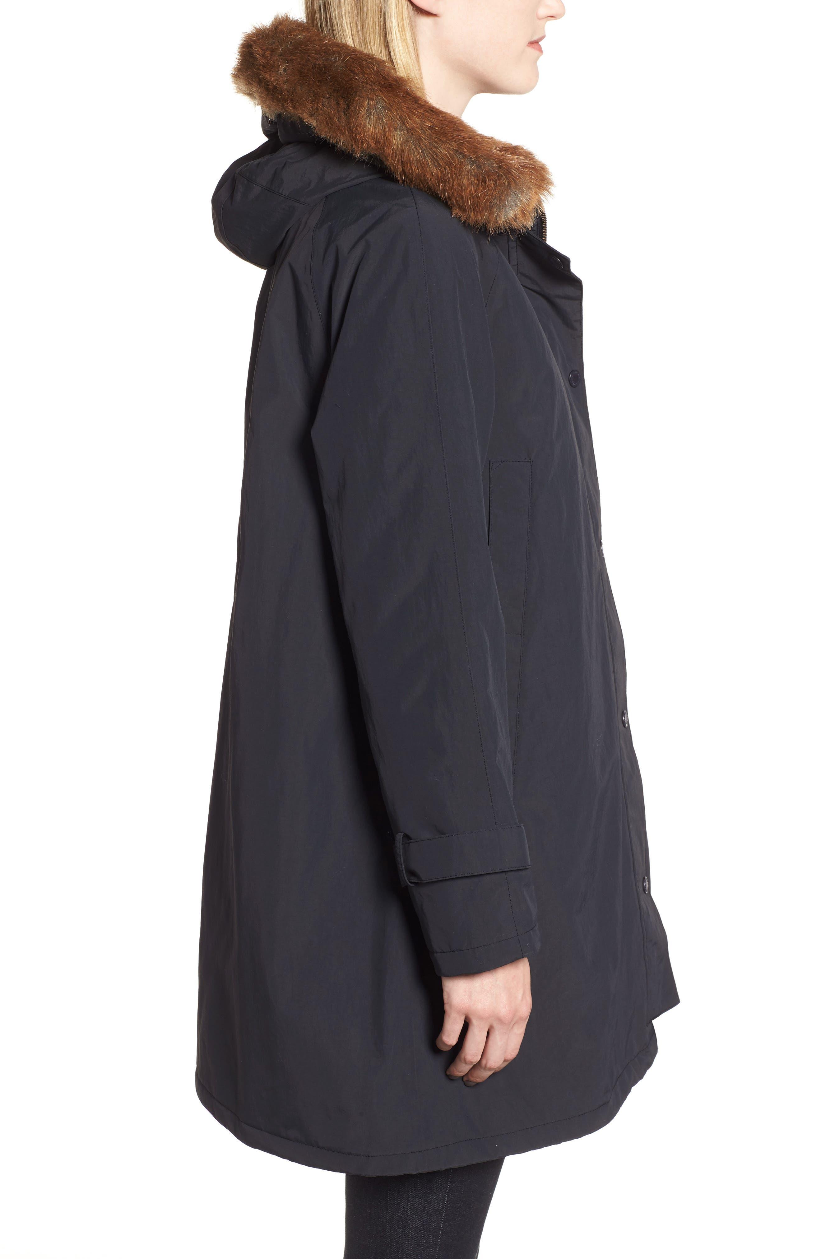 Dexy Jacket with Faux Fur Trim,                             Alternate thumbnail 3, color,                             BLACK