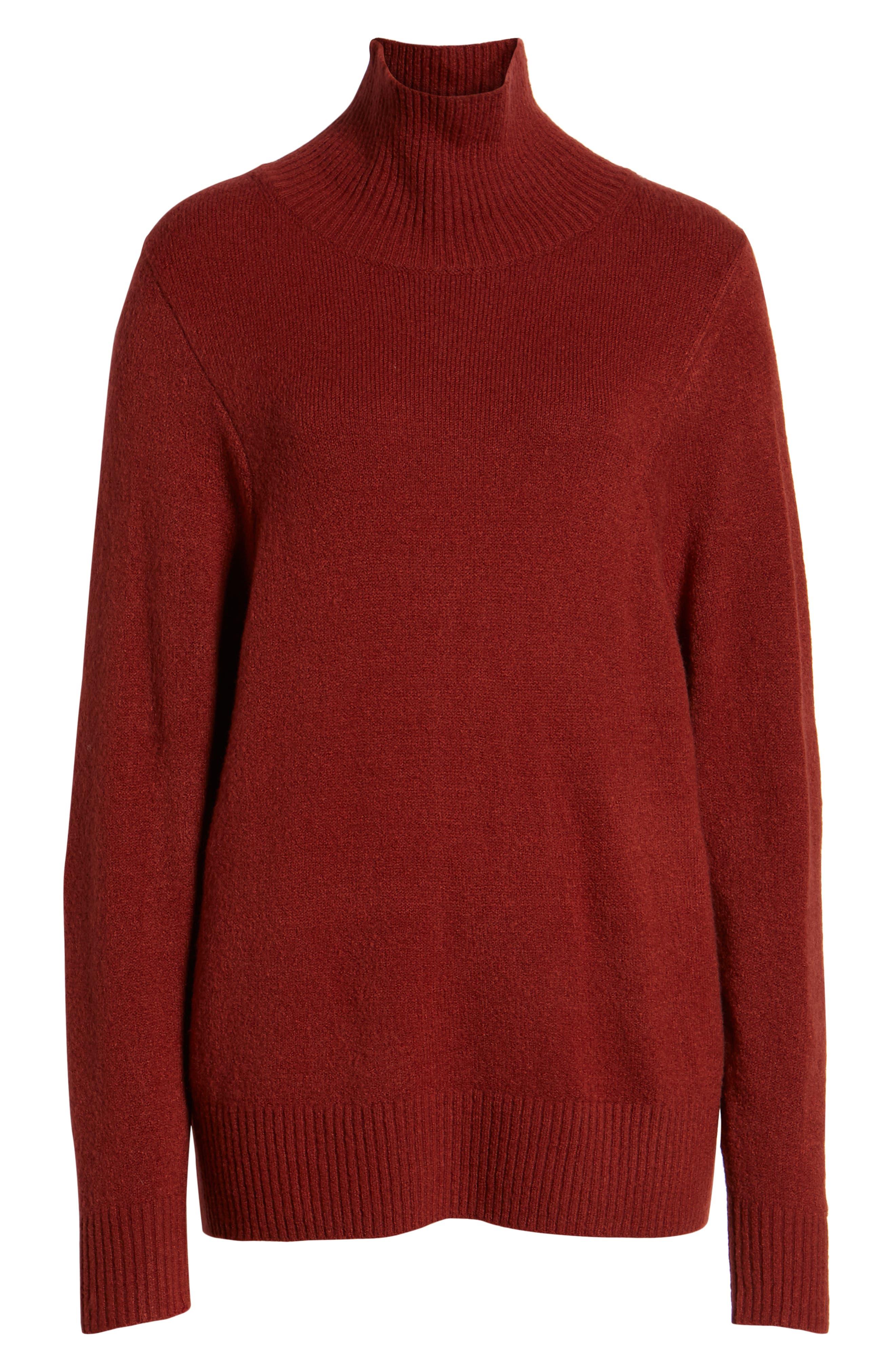 Seasonal Pullover Sweater,                             Alternate thumbnail 6, color,                             BURGUNDY RUSSET
