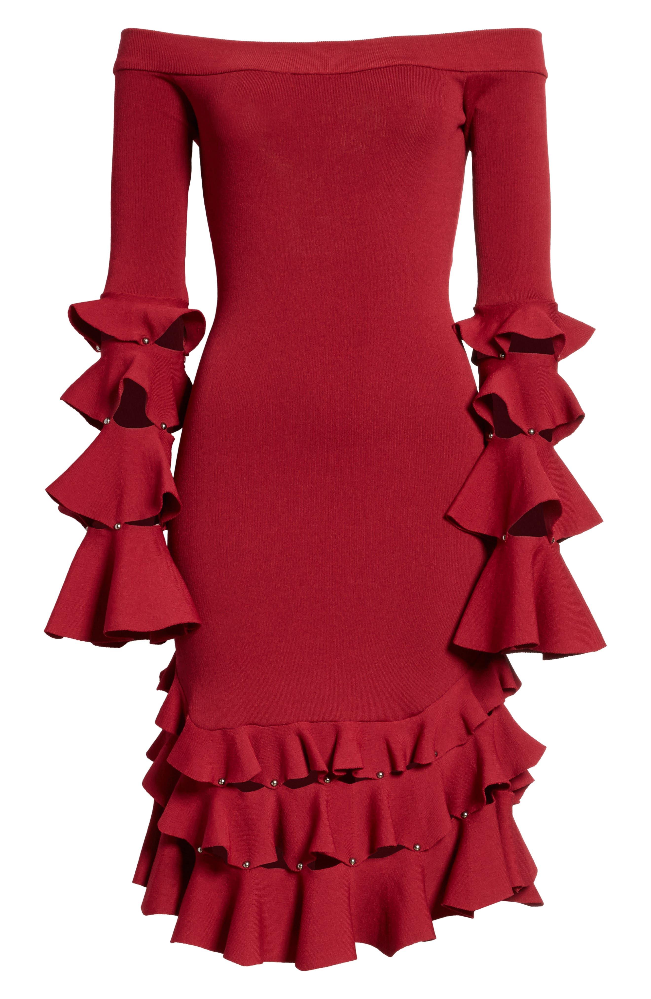 Slashed Knit Ruffle Off the Shoulder Dress,                             Alternate thumbnail 6, color,                             604