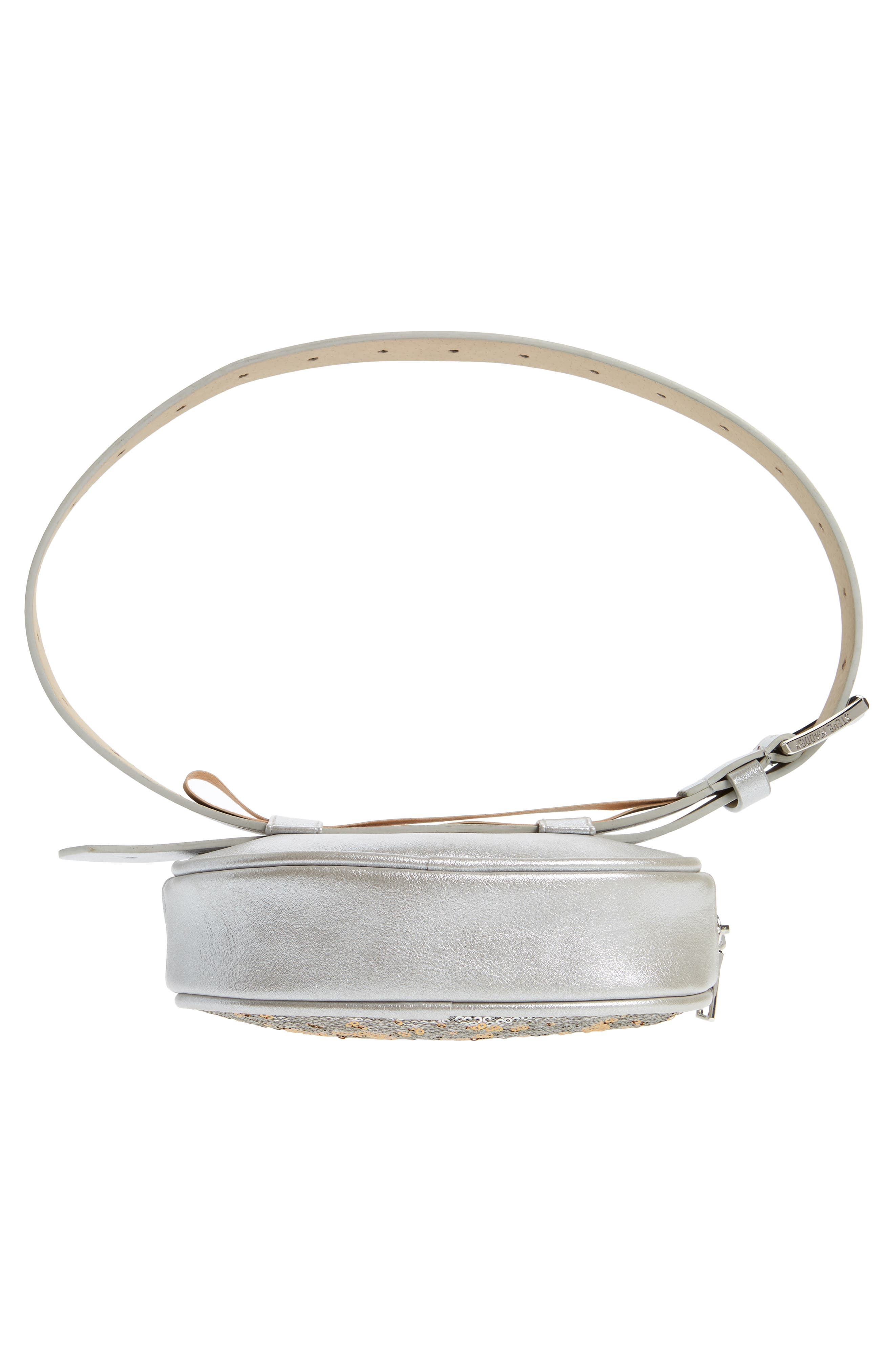 Sequin Faux Leather Belt Bag,                             Alternate thumbnail 7, color,                             SILVER