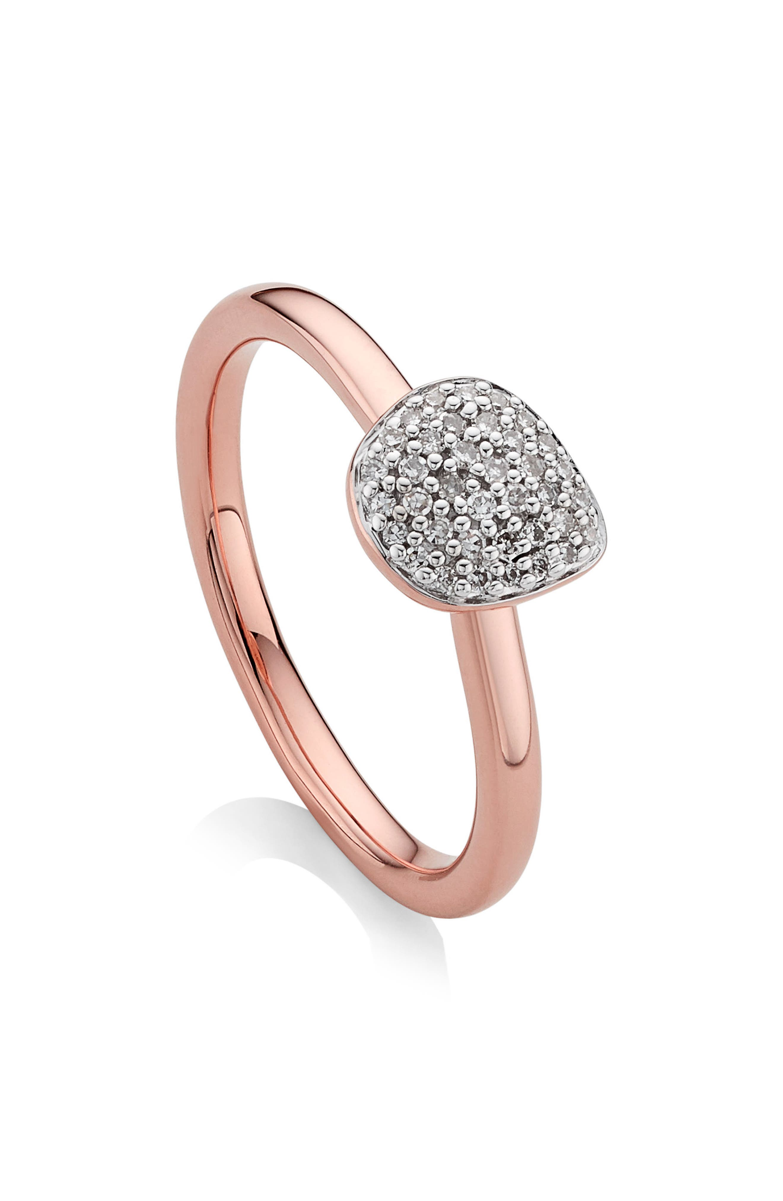 Nura Mini Diamond Pavé Pebble Stacking Ring,                             Alternate thumbnail 2, color,                             ROSE GOLD/ DIAMOND