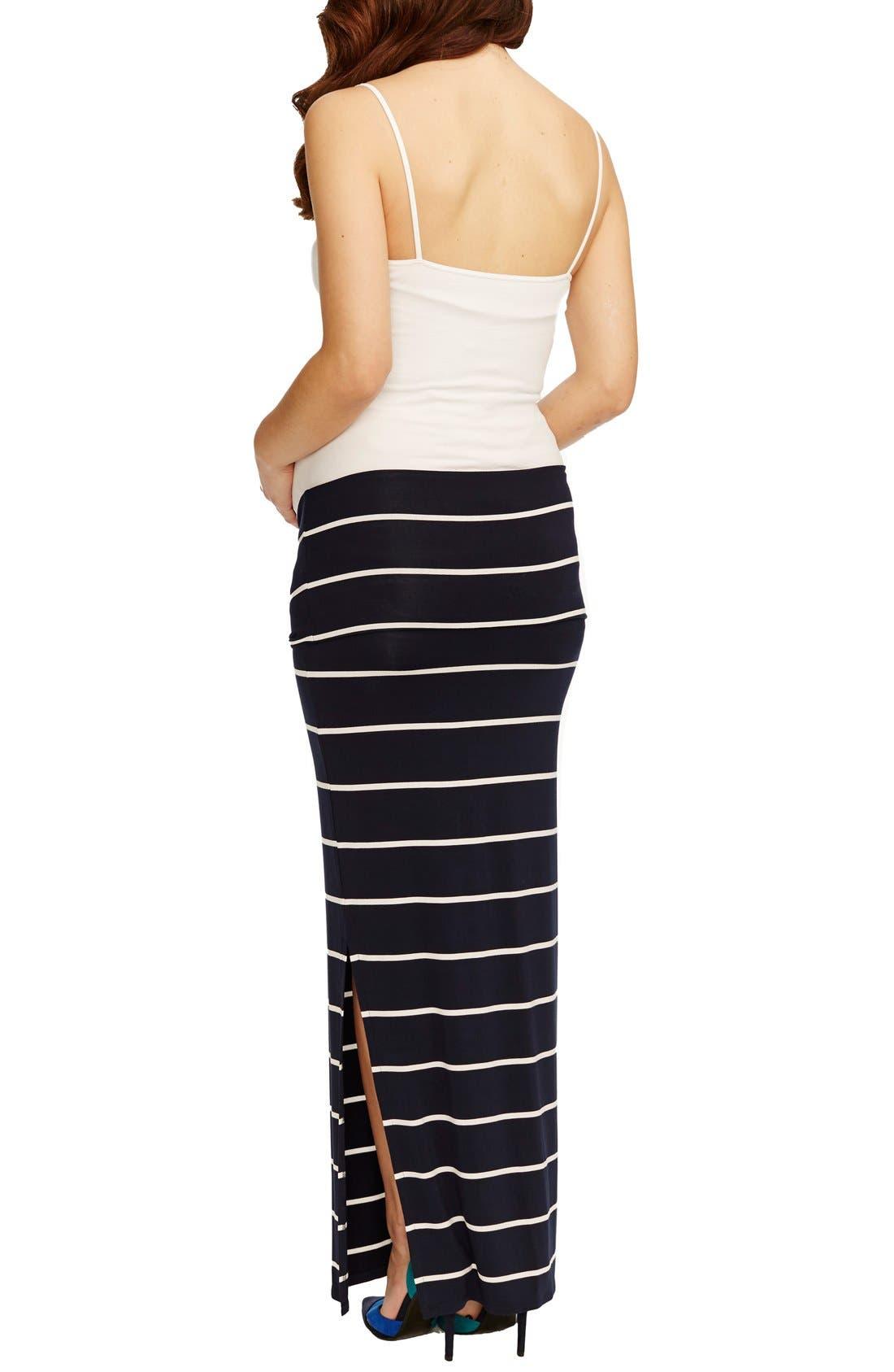 'Jessica' Stripe Maternity Maxi Skirt,                             Alternate thumbnail 3, color,                             NAVY WHITE STRIPE