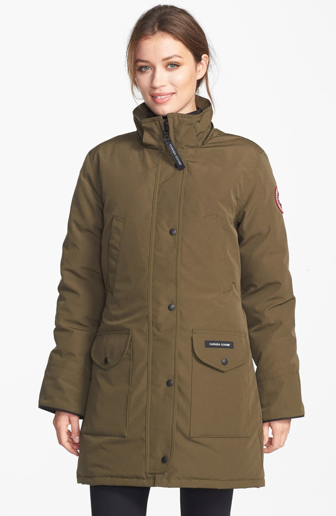 CANADA GOOSE,                             'Trillium' Regular Fit Down Parka with Genuine Coyote Fur Trim,                             Alternate thumbnail 9, color,                             MILITARY GREEN