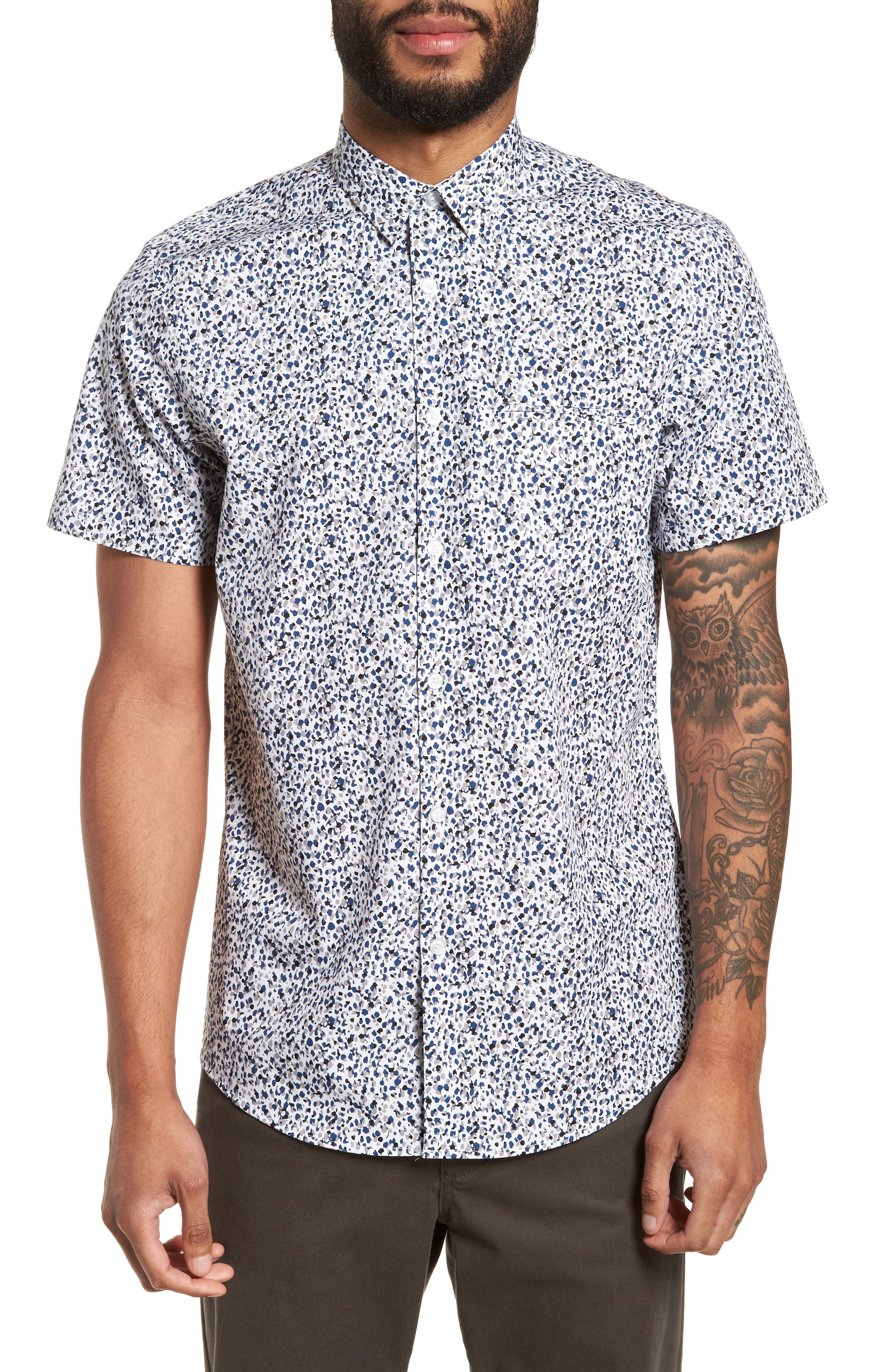 Print Welt Pocket Sport Shirt,                         Main,                         color, WHITE BLUE SPLATTER