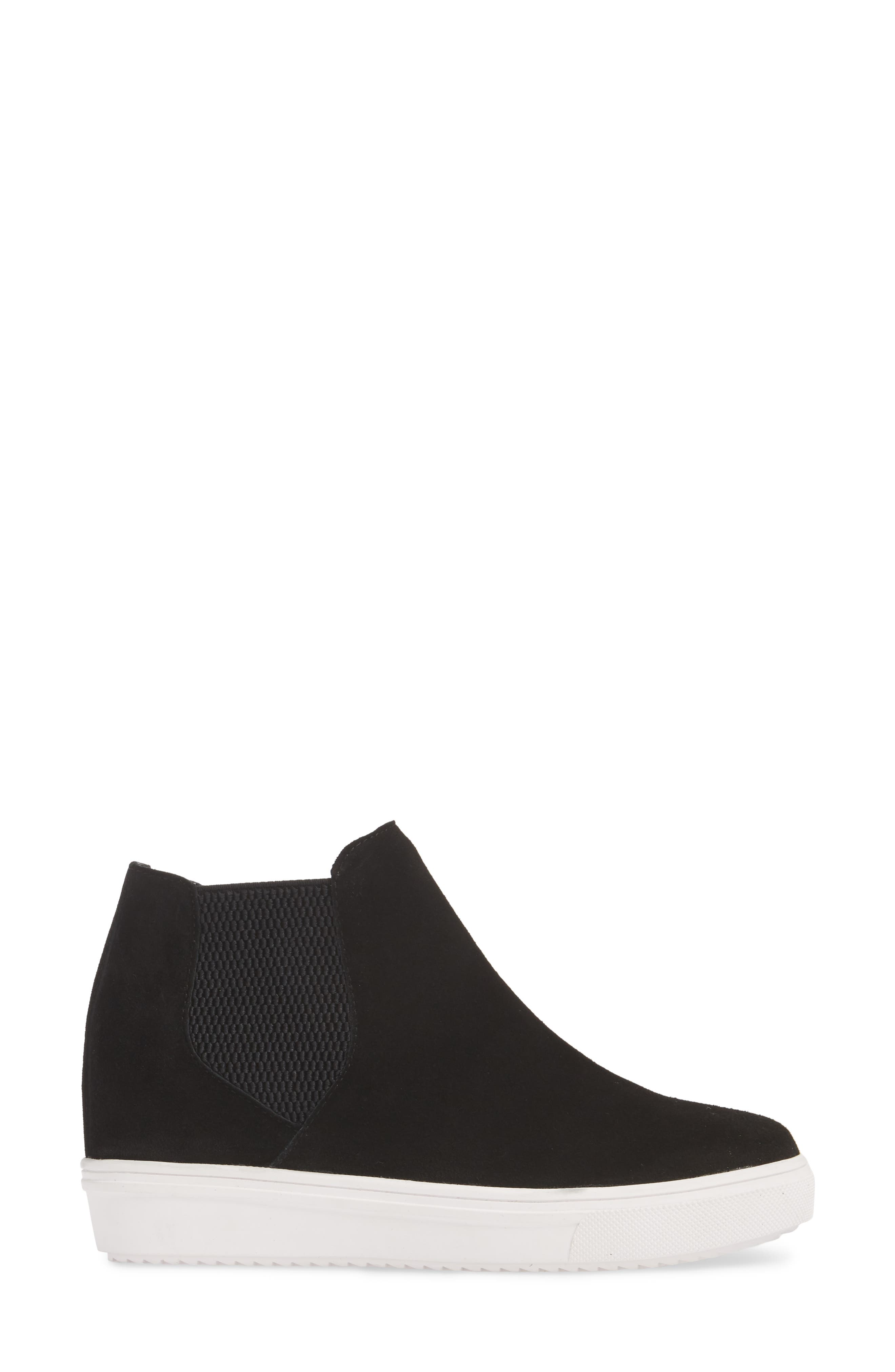Sultan Chelsea Wedge Sneaker,                             Alternate thumbnail 3, color,                             BLACK SUEDE